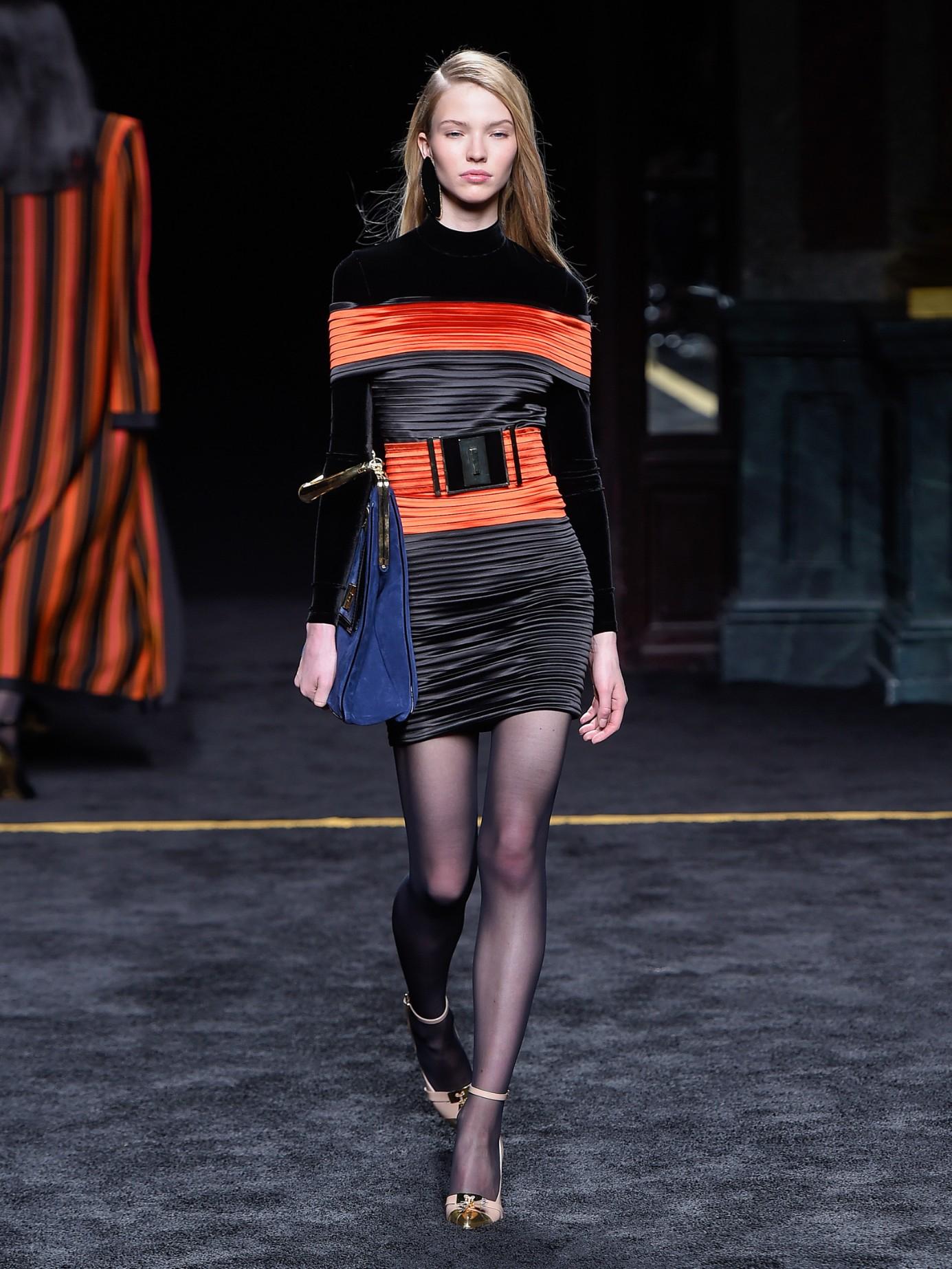 9d5599be Balmain Off-The-Shoulder Pleated Satin Dress in Orange - Lyst