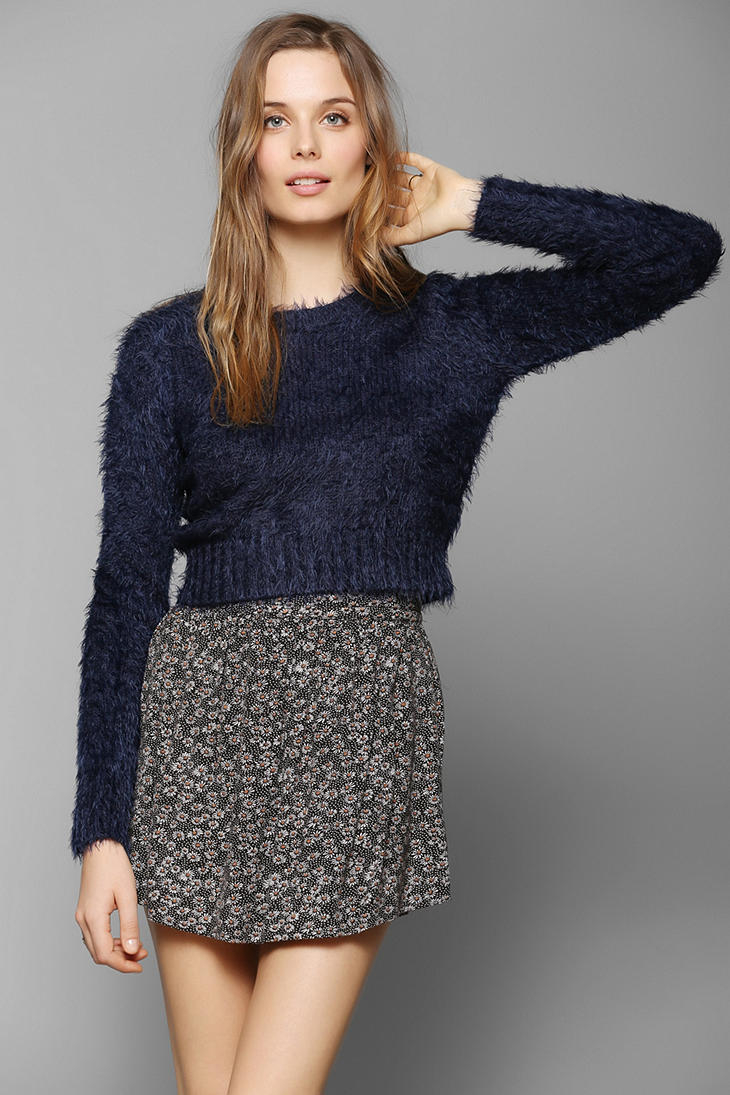 Lyst Glamorous Fuzzy Cropped Sweater In Blue