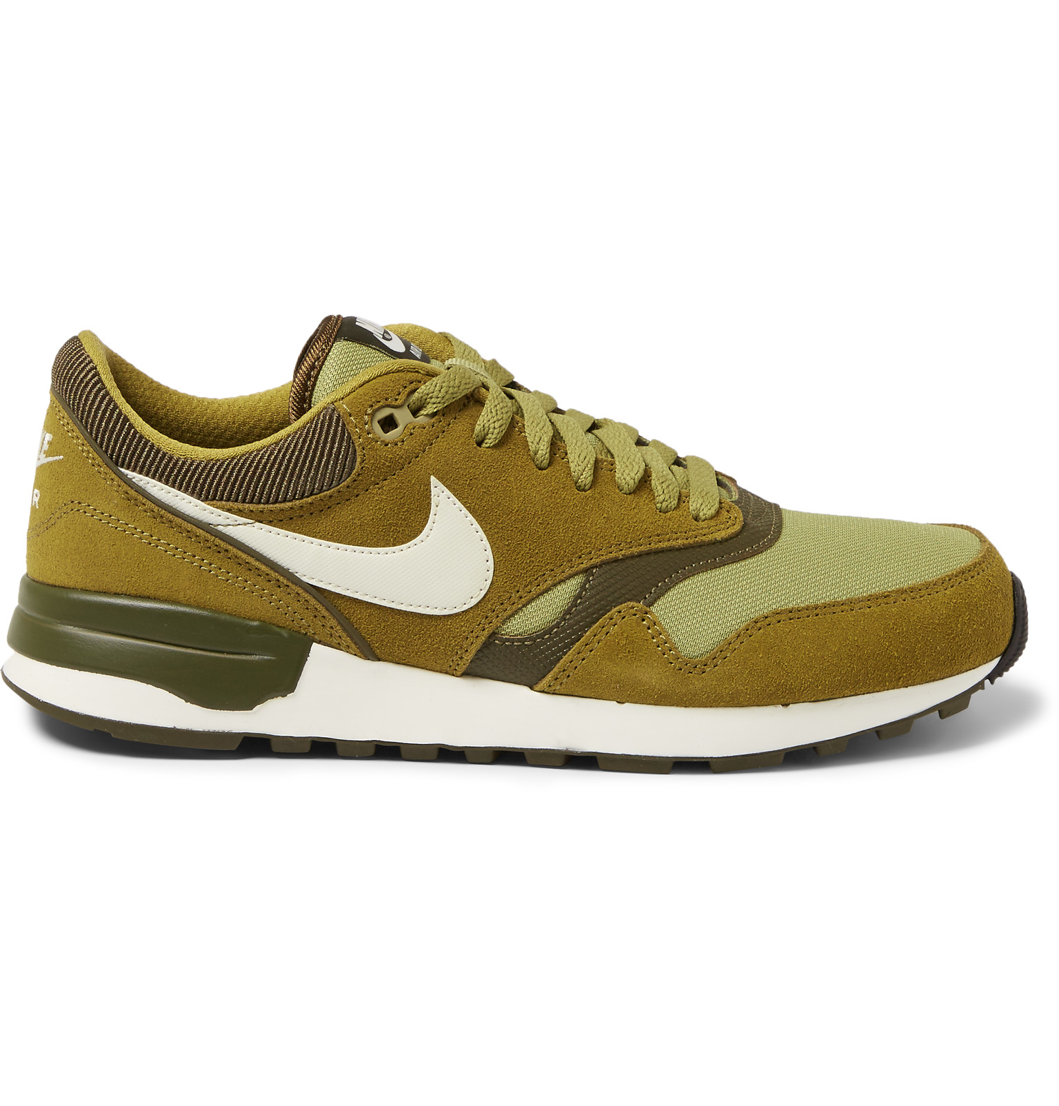 nike air odyssey suede and mesh sneakers in green for men. Black Bedroom Furniture Sets. Home Design Ideas