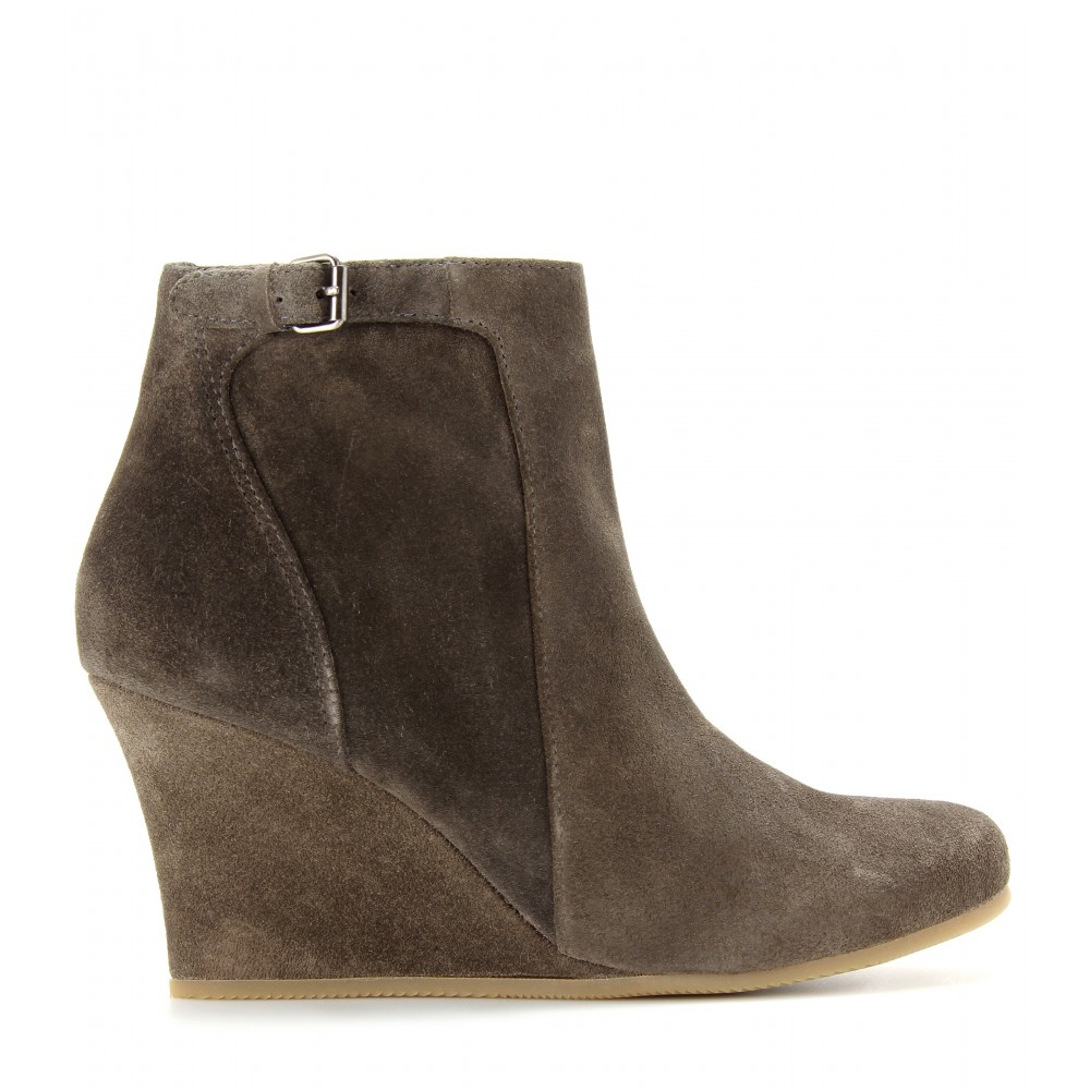 e4e47b990059 Lyst - Lanvin Suede Wedge Ankle Boots in Natural