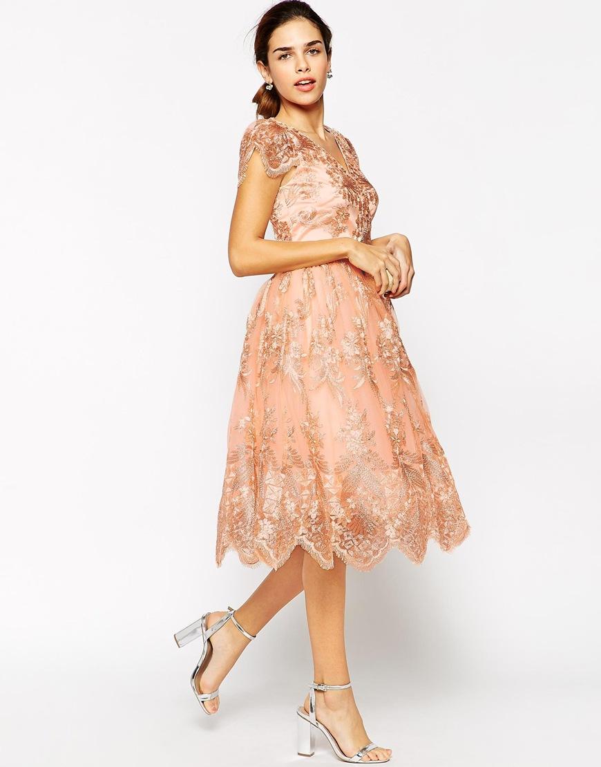 Chi Chi London Wrap Front Full Midi Prom Dress In Premium