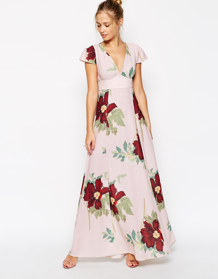 Asos Maxi Dress In Floral Bloom Print in Floral (Print) | Lyst