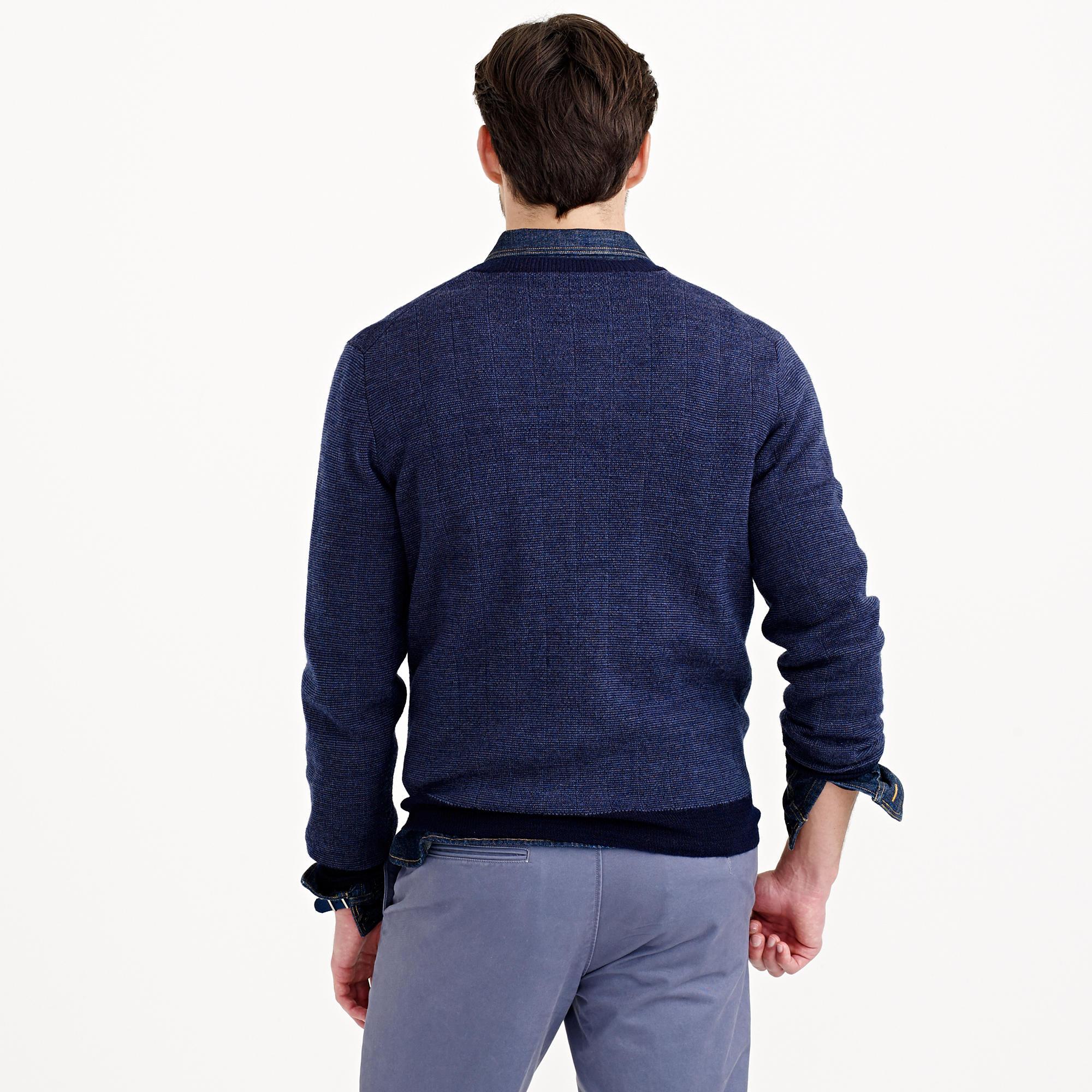 J.crew Wallace & Barnes Zip Cardigan Sweater In Blue For