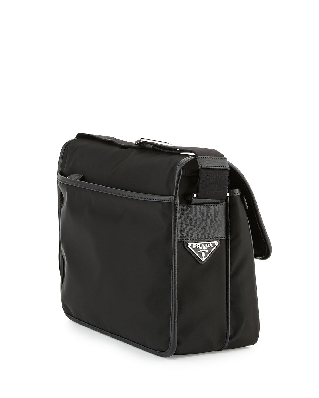 9a2ccb4cfc26 ... low price lyst prada mens large nylon messenger bag in black for men  1ed4c ca01a