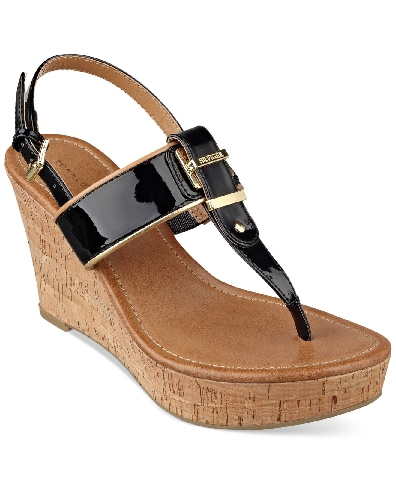 tommy hilfiger maree platform thong wedge sandals in black lyst. Black Bedroom Furniture Sets. Home Design Ideas