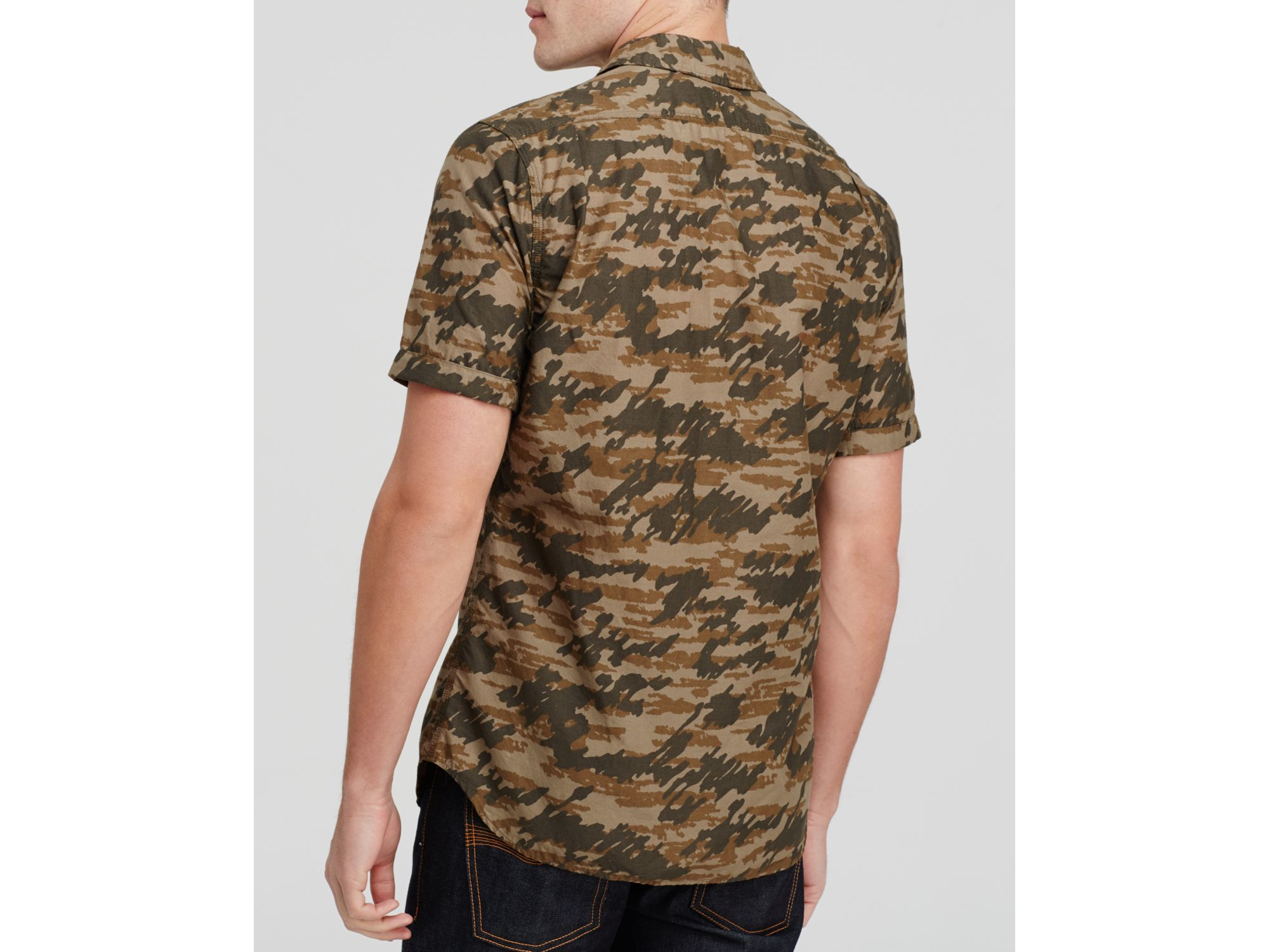 Lyst - Wings   horns Tiger Spruce Camo Short Sleeve Button Down ...