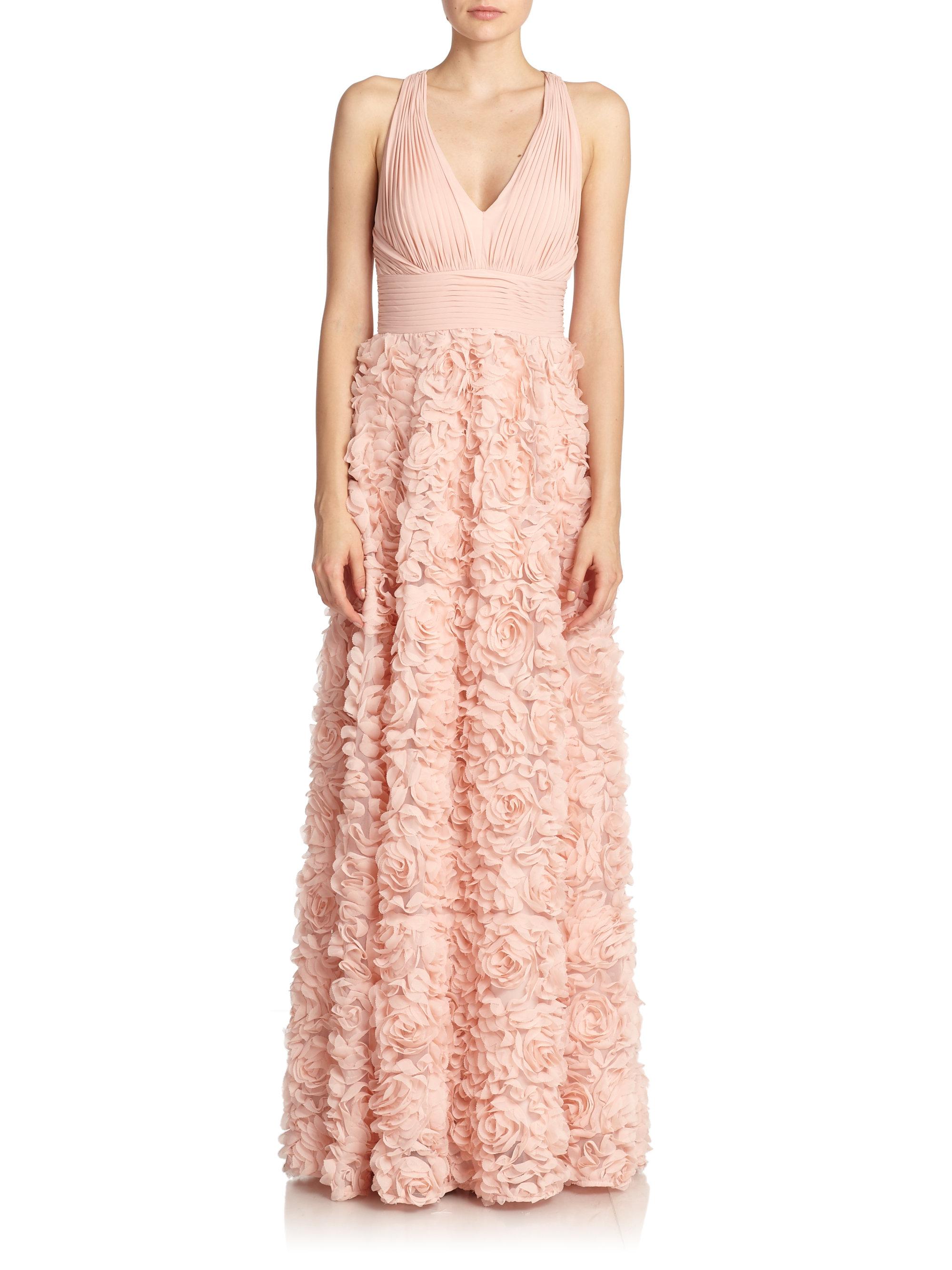 Lyst aidan mattox chiffon flower gown in pink gallery mightylinksfo Images