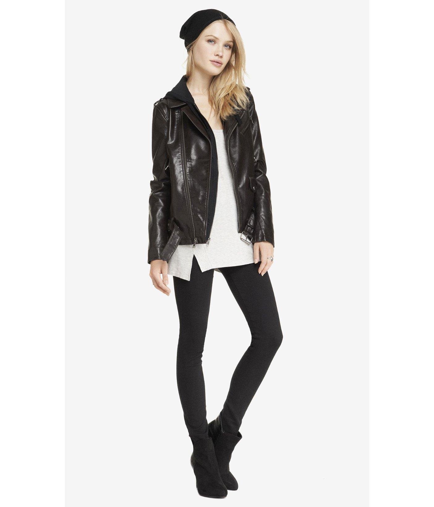 b1431c72927 Lyst - Express Dark Brown (Minus The) Leather Long Moto Jacket in Black