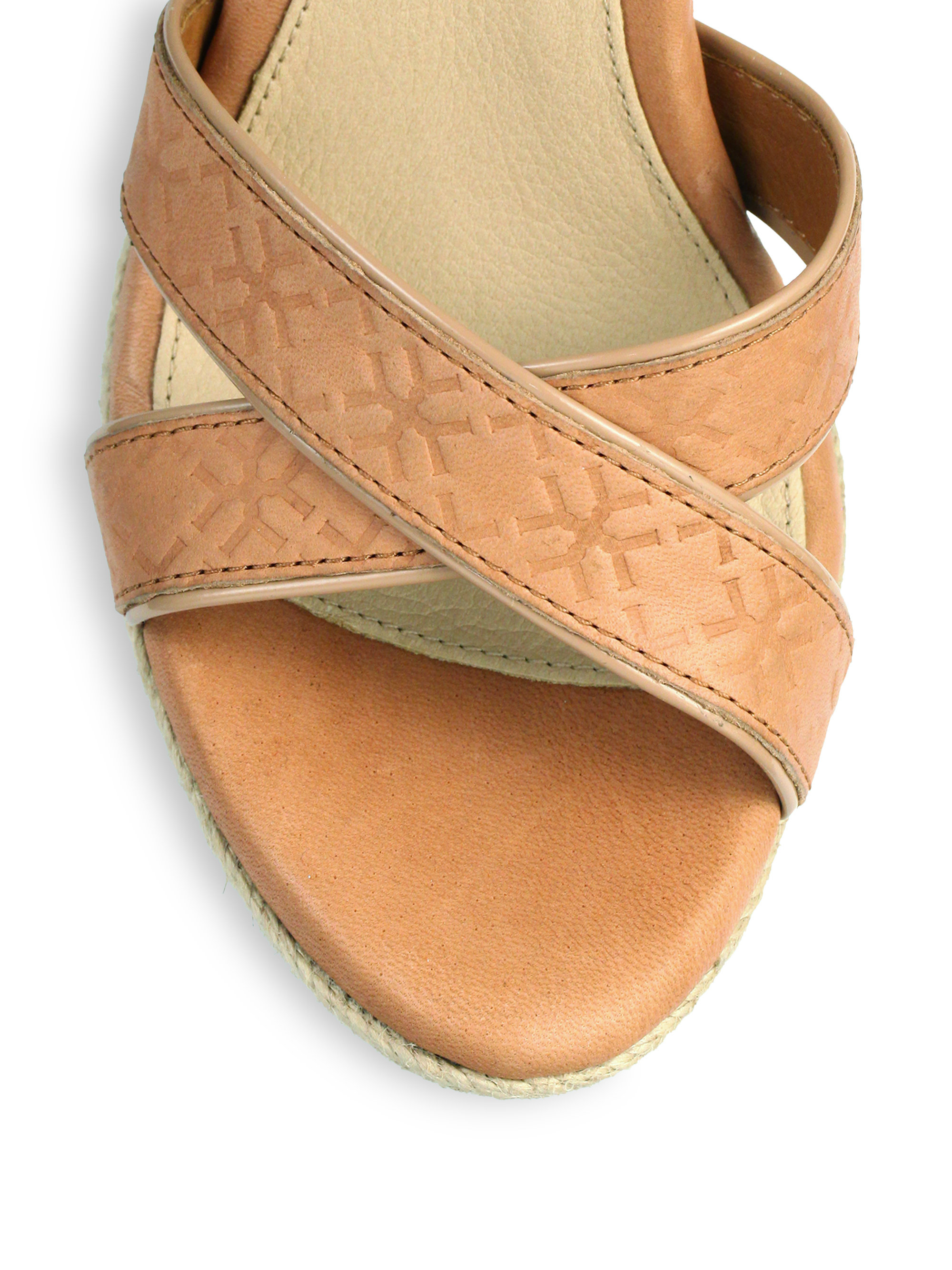 64a19f4c58b UGG Brown Jackilyn Leather Wedge Sandals