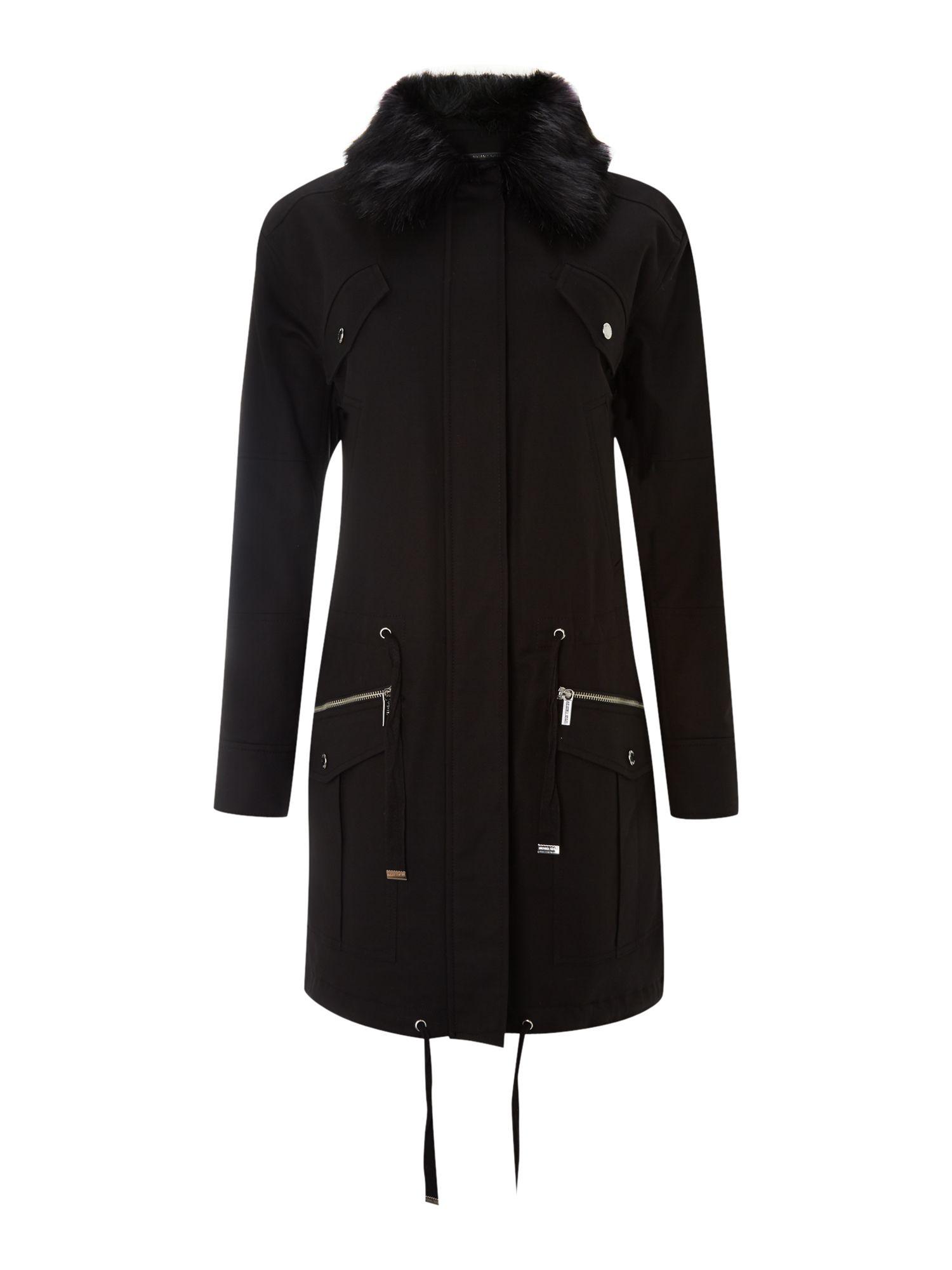 Michael Kors Parka Jacket with Faux Fur Trim in Black | Lyst