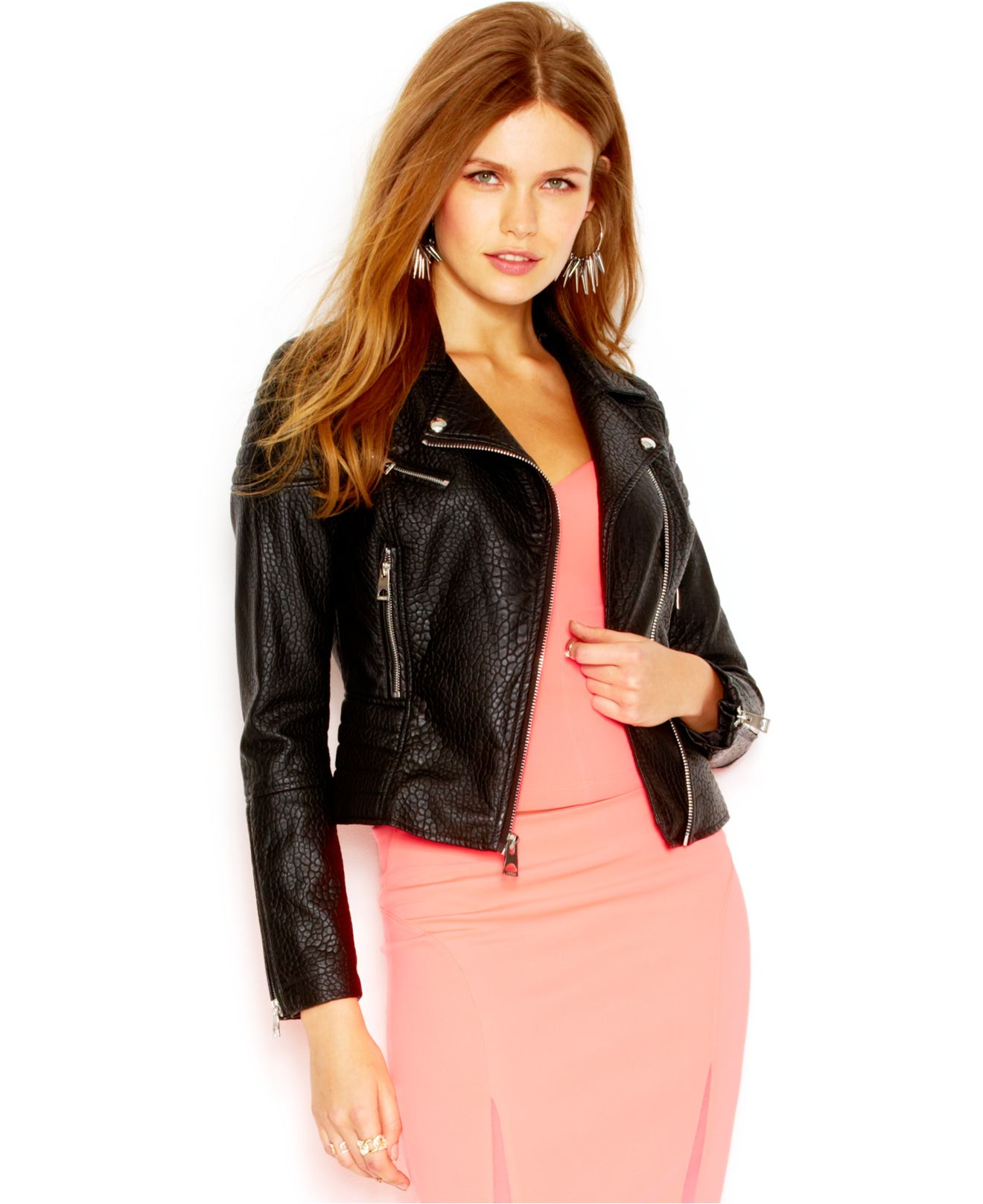 b0f22b4a1ce5a Lyst - Guess Pebbled Faux-Leather Moto Jacket in Black