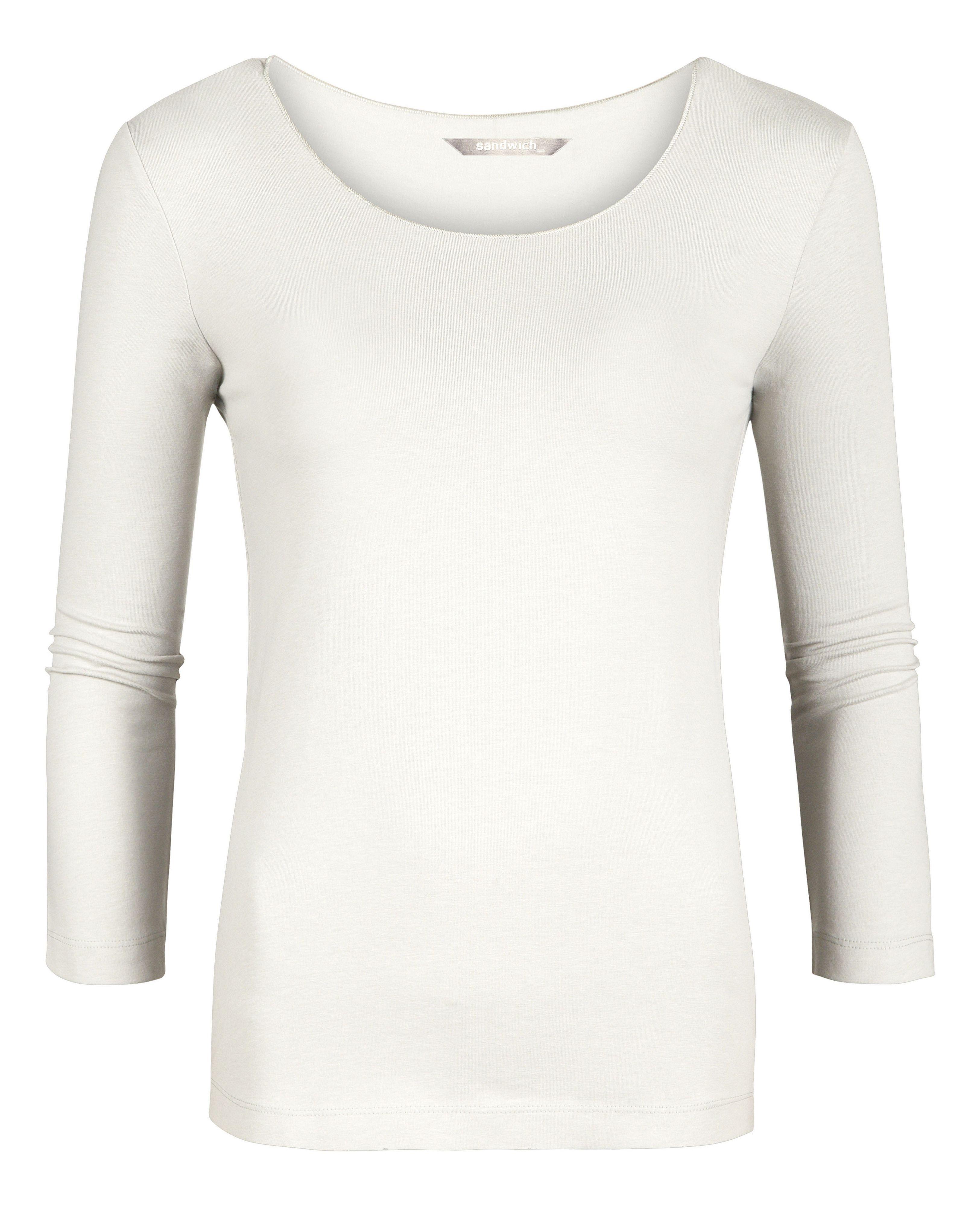 Lyst sandwich cotton long sleeve t shirt in white for White cotton long sleeve t shirt