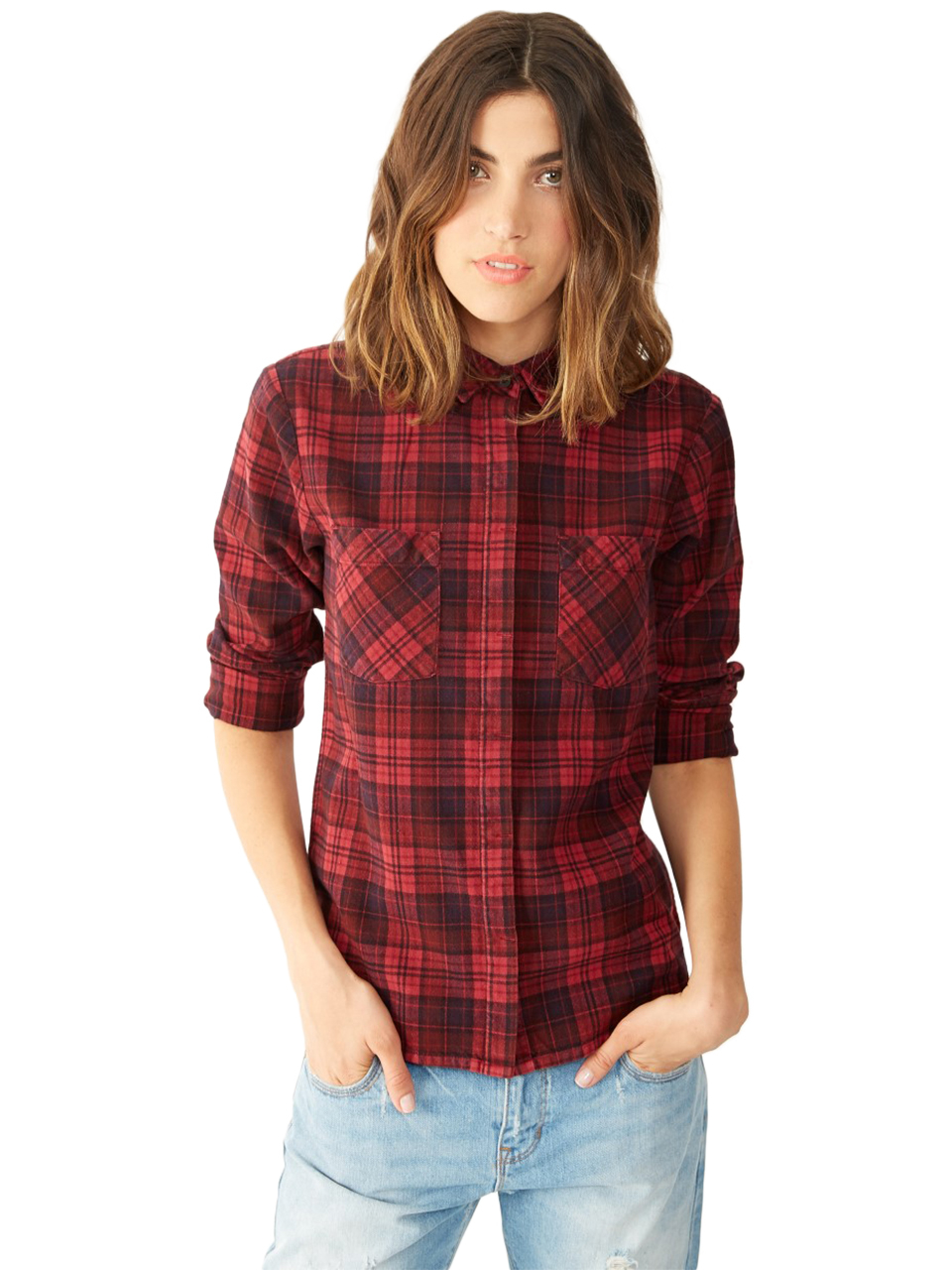 Alternative apparel flannel yarn dye button up shirt in for Button up flannel shirts