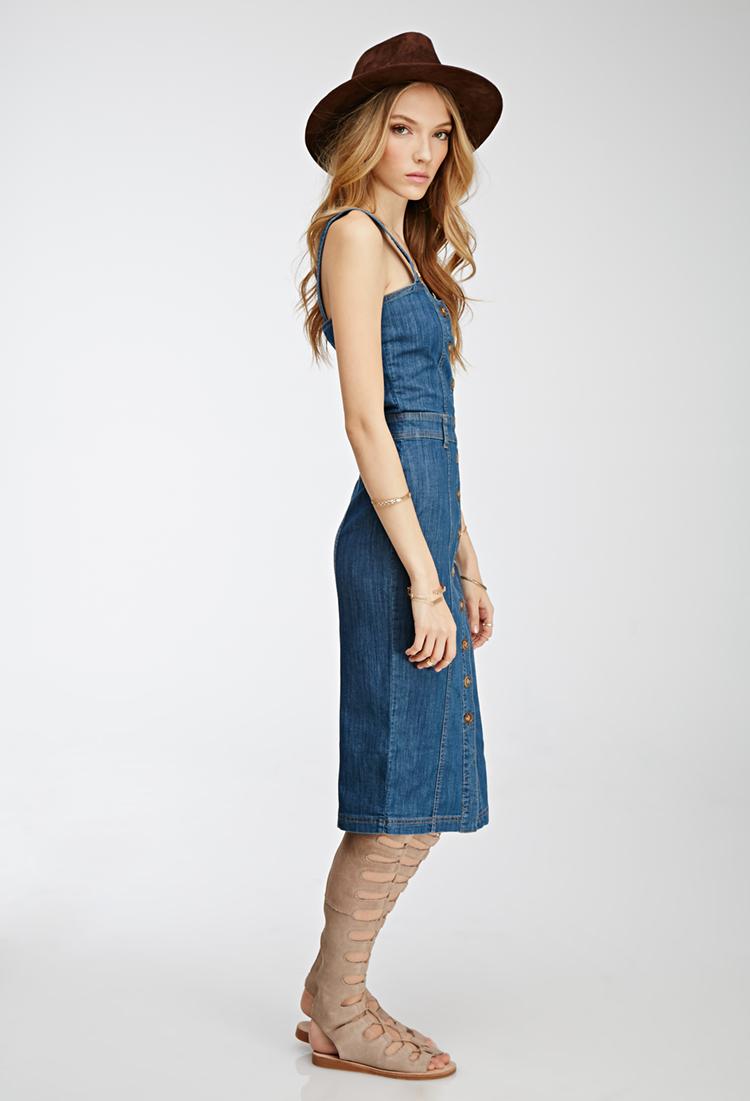 5459032c Forever 21 Button-down Denim Dress in Blue - Lyst