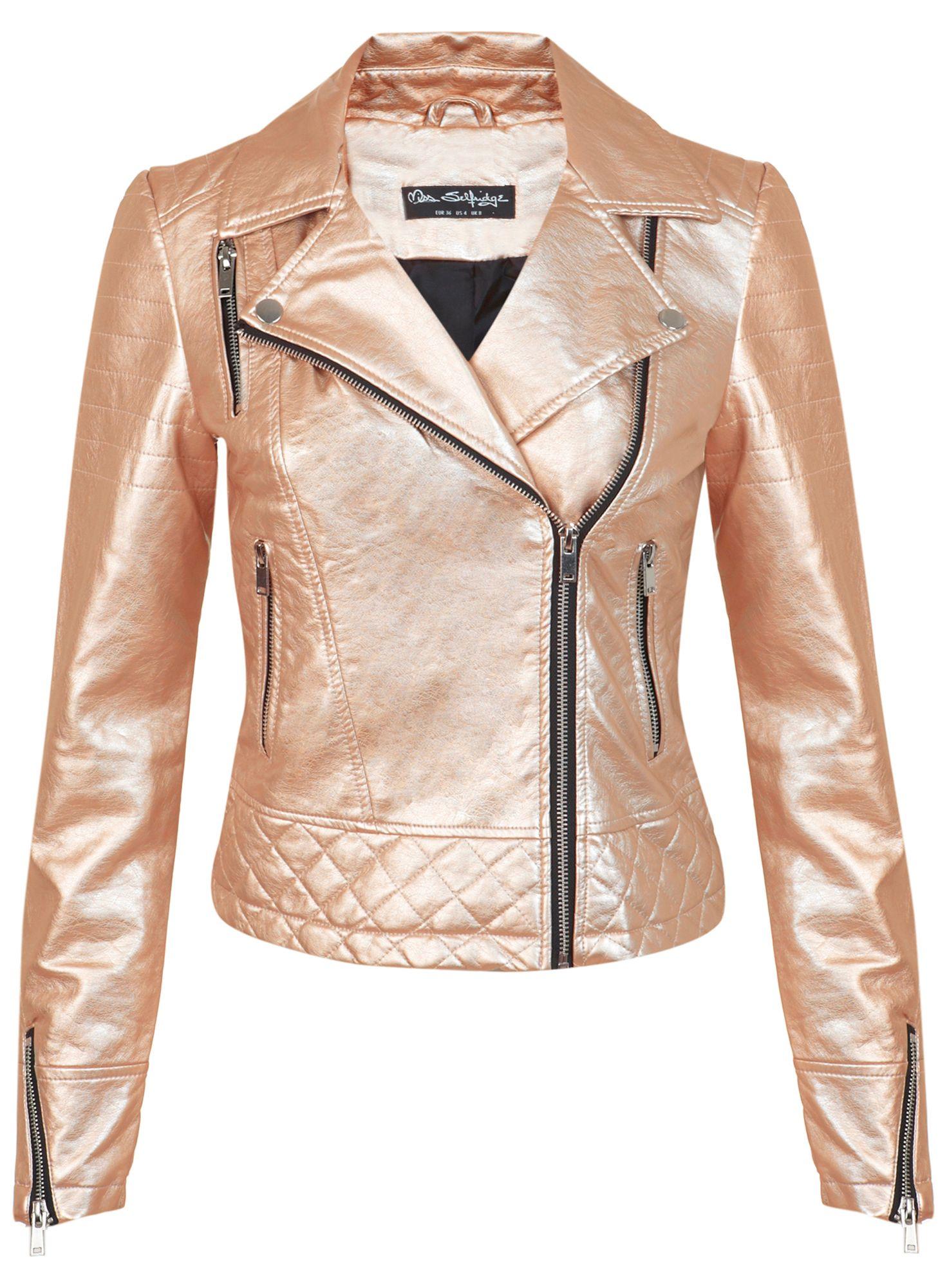 Miss Selfridge Rose Gold Faux Leather Jacket In Metallic