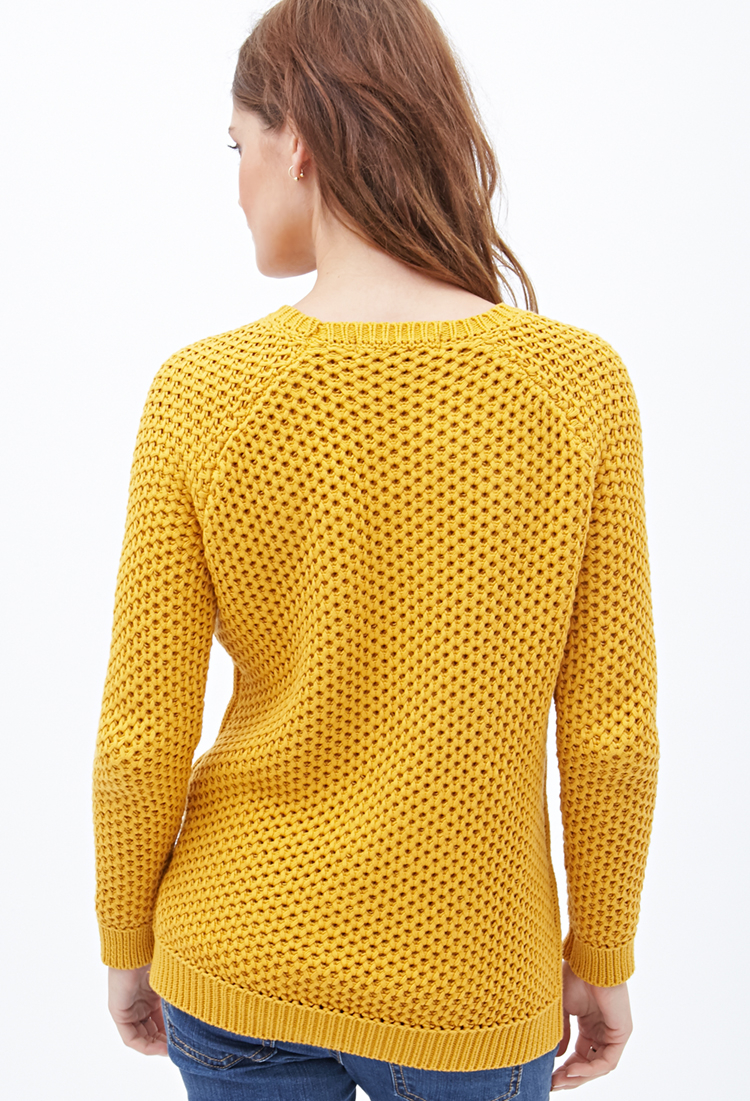 Lyst Forever 21 Cable Knit Fisherman Sweater In Yellow