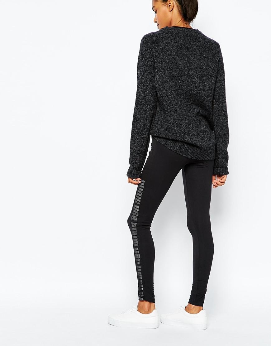 Puma Leggings With Mesh Panel in Black | Lyst