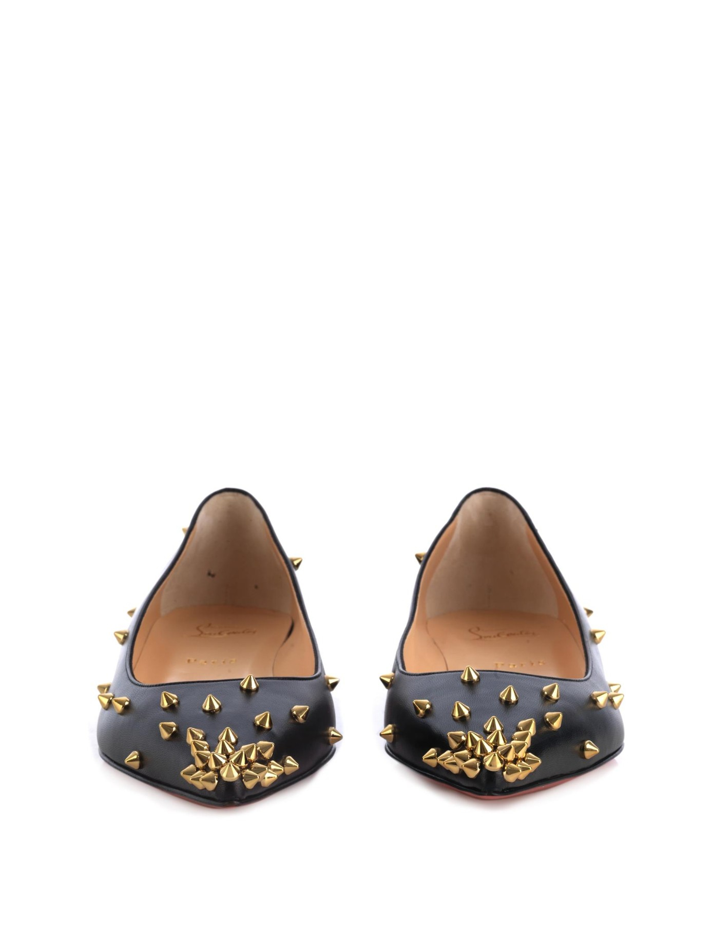 Christian louboutin Degraspike Stud-Embellished Flats in Black ...