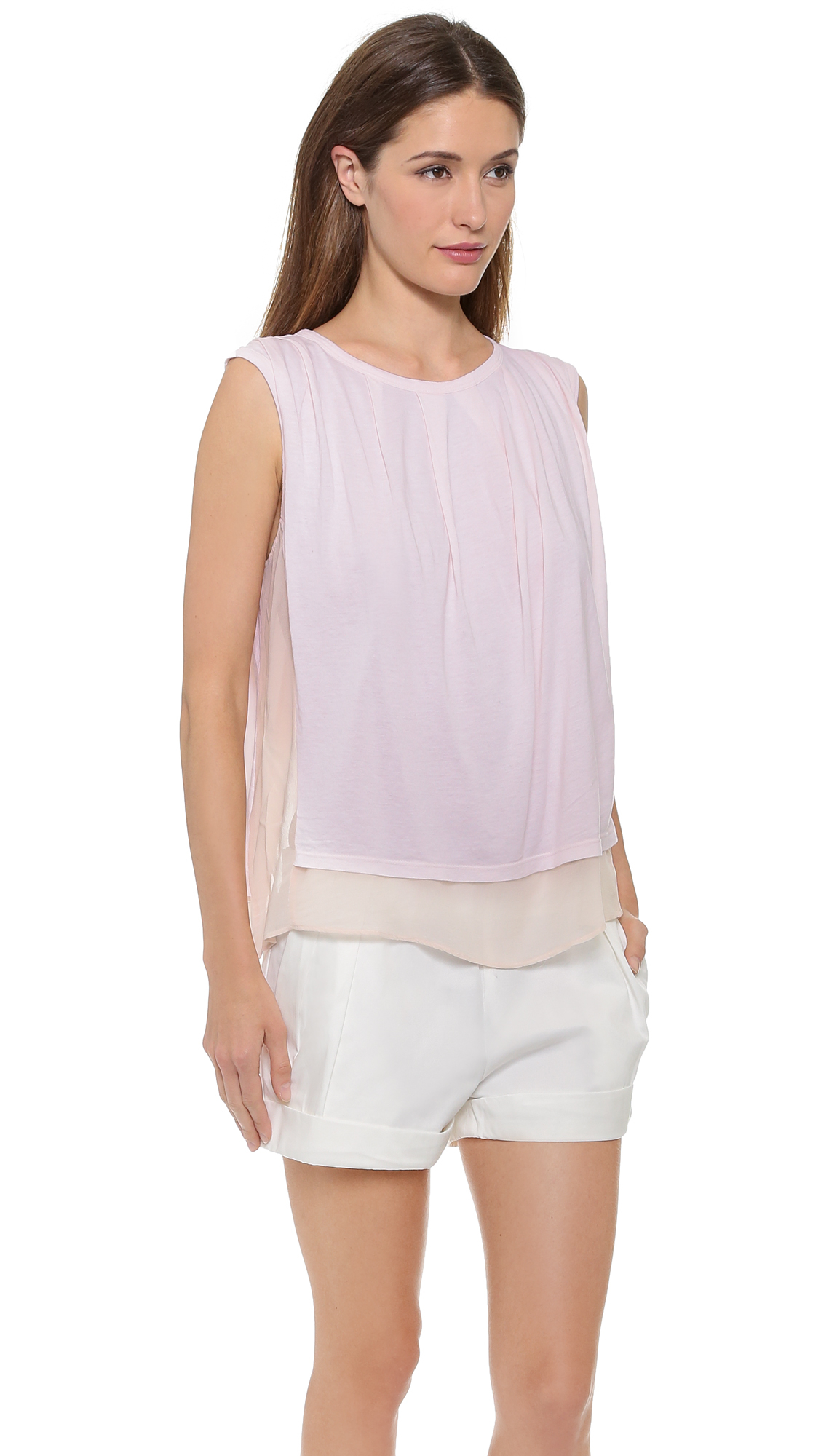 Clu Sleeveless Top With Tuck Detail Light Pink In Pink