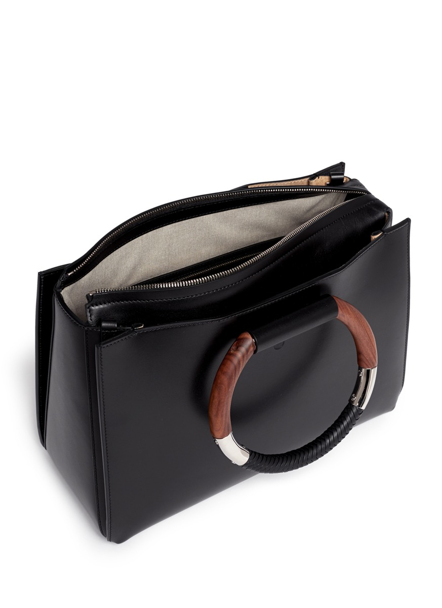 Lyst The Row Classic Wooden Handle Leather Box Bag In