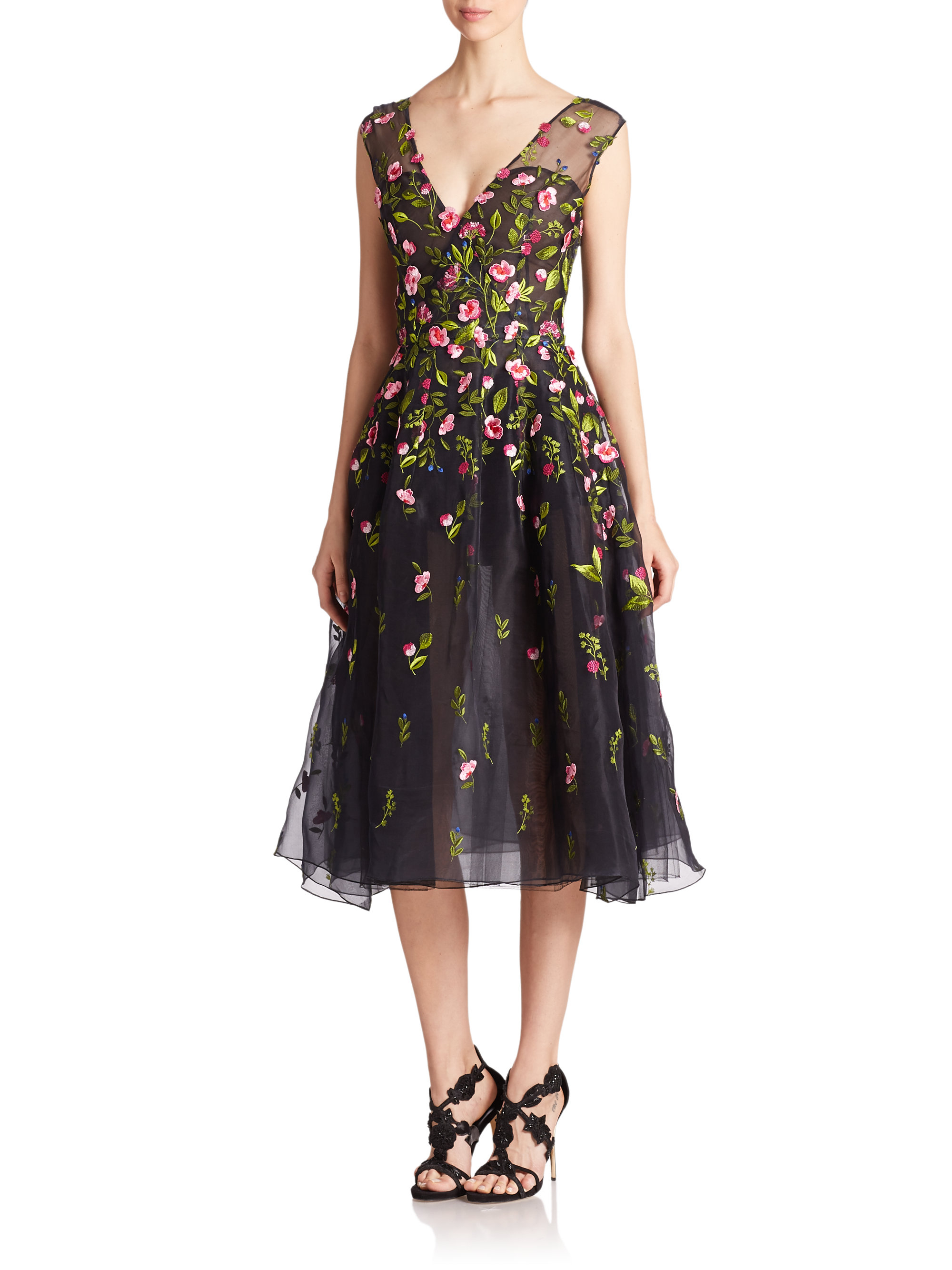 Oscar De La Renta Embroidered Silk Organza Dress In Blue