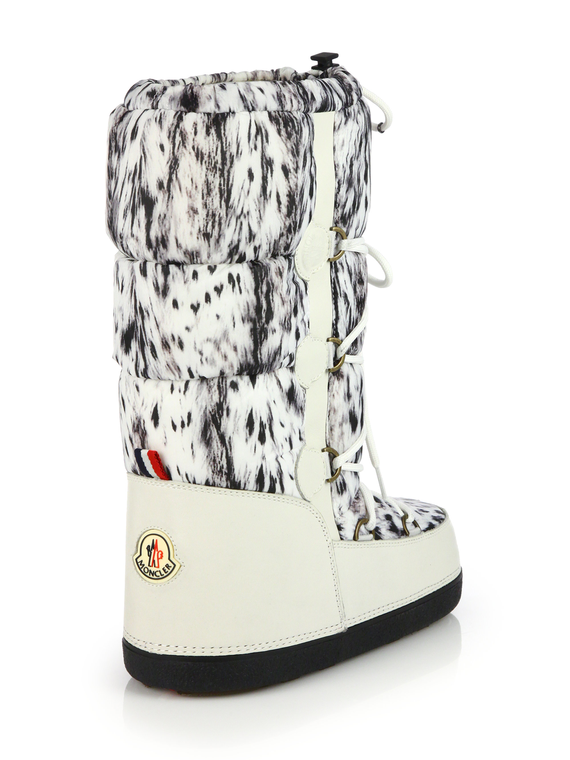 Lyst Moncler Bear Print Lace Up Moon Boots In White