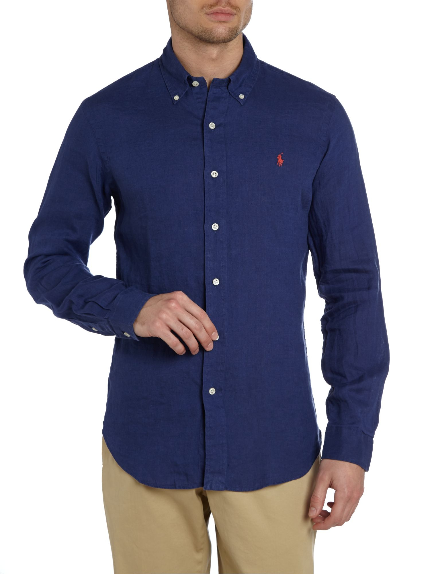 polo ralph lauren ralph lauren slim fit linen shirt in blue for men lyst. Black Bedroom Furniture Sets. Home Design Ideas