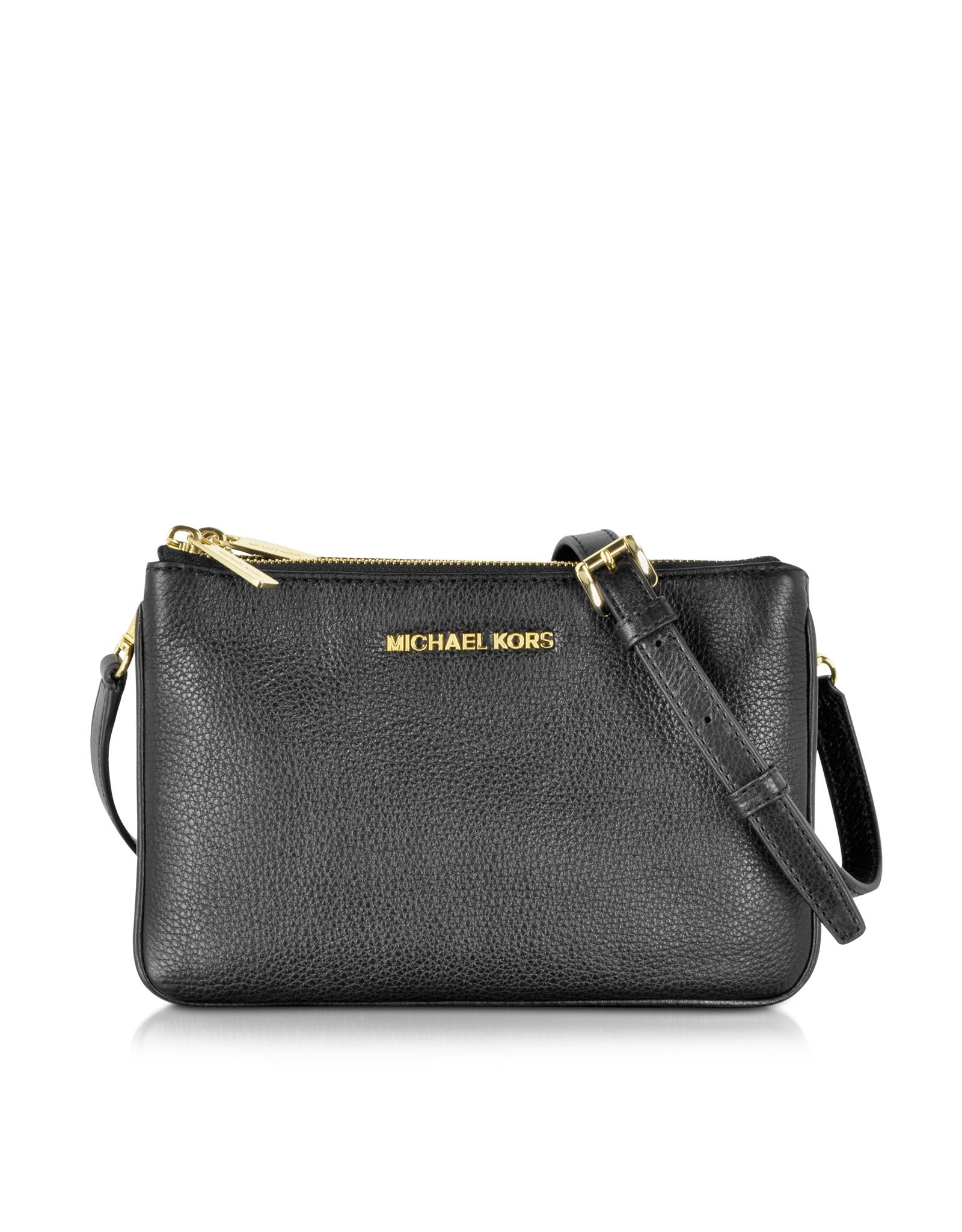 michael kors bedford black leather gusset crossbody bag in