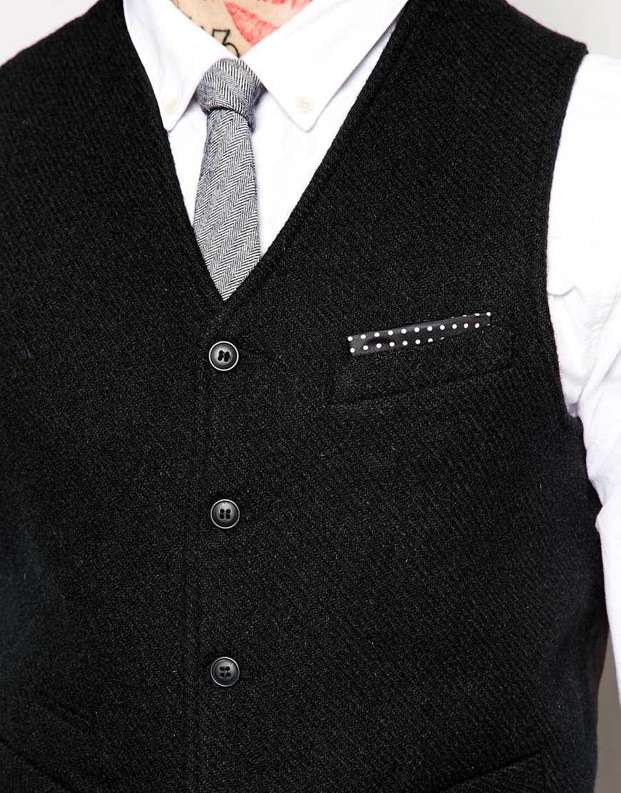asos slim fit waistcoat in harris tweed fabric in black