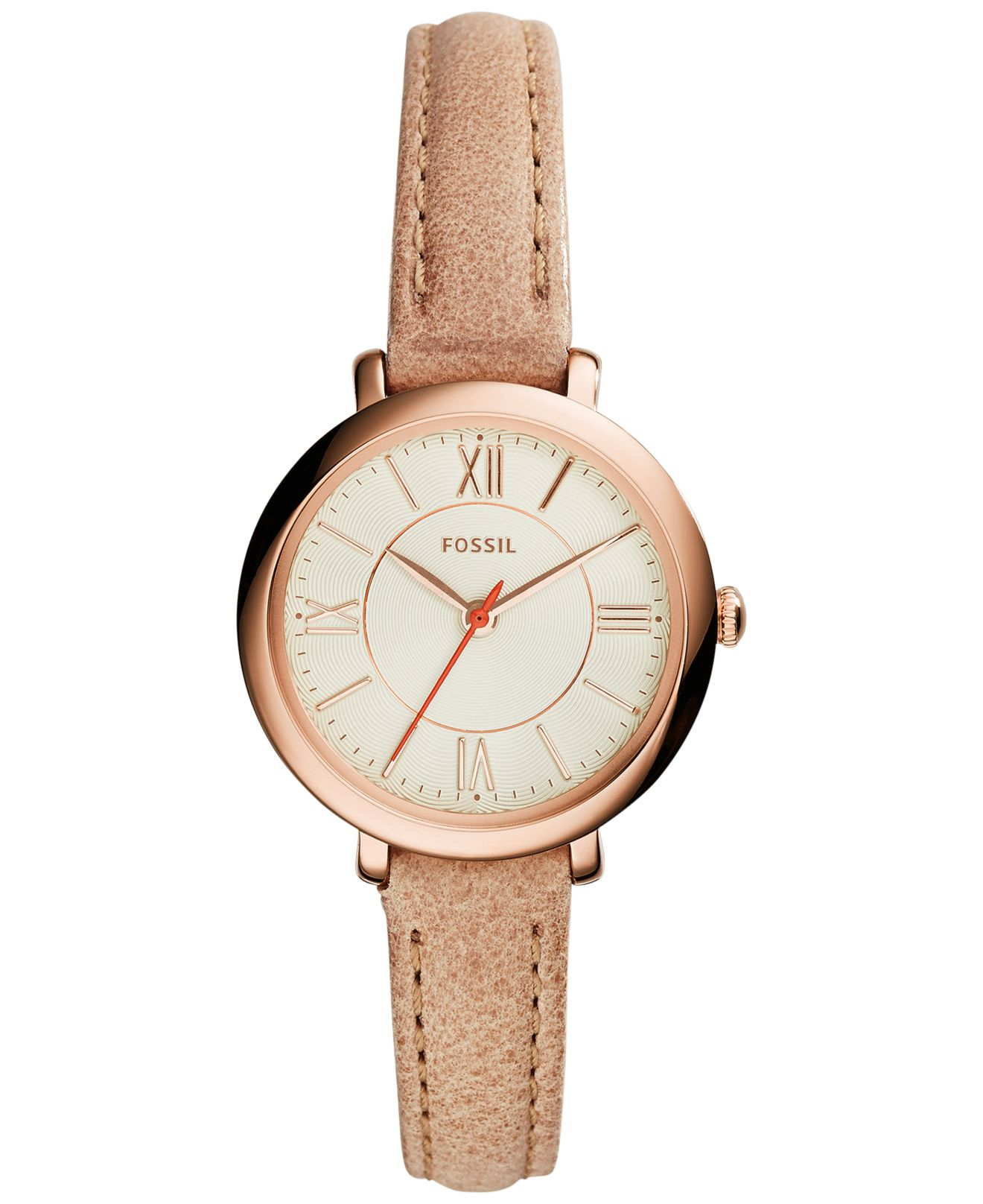 fossil women 39 s jacqueline brown tan leather strap watch. Black Bedroom Furniture Sets. Home Design Ideas