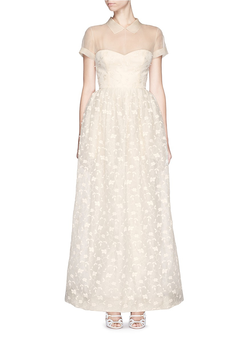 Lyst - Delpozo Made-to-order Flower Embroidery Swiss Organdy Collar ...