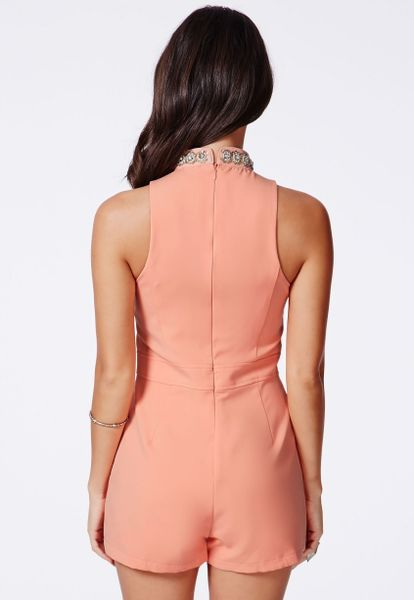 Missguided Mizzy Embellished Collar Romper in Pink - Lyst
