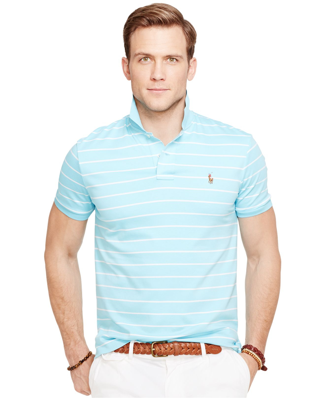 5b7c8826 Polo Ralph Lauren Striped Pima Soft-touch Polo Shirt in Blue for Men ...