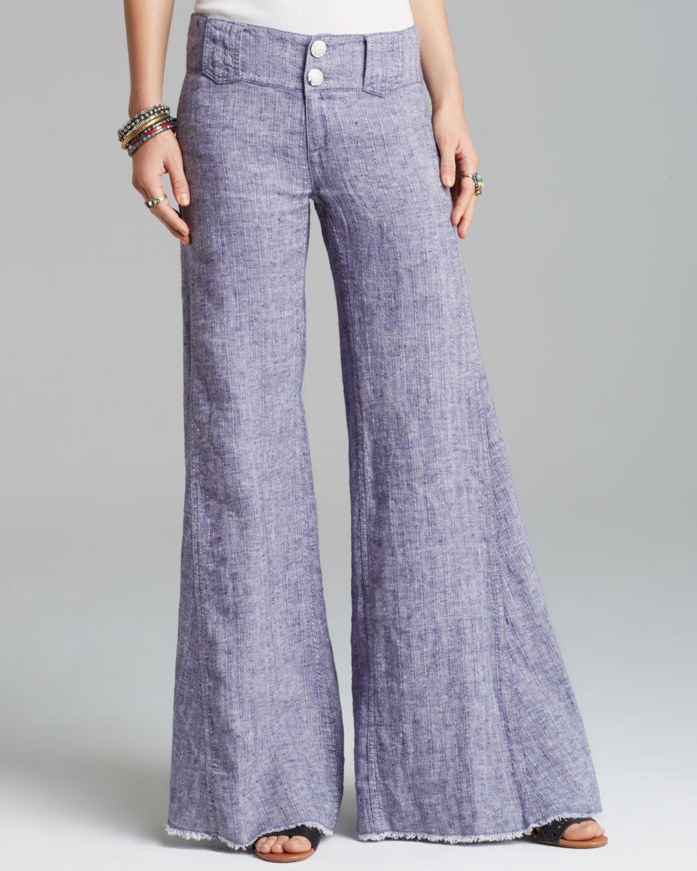 Free people Pants Linen Wide Leg in Blue | Lyst
