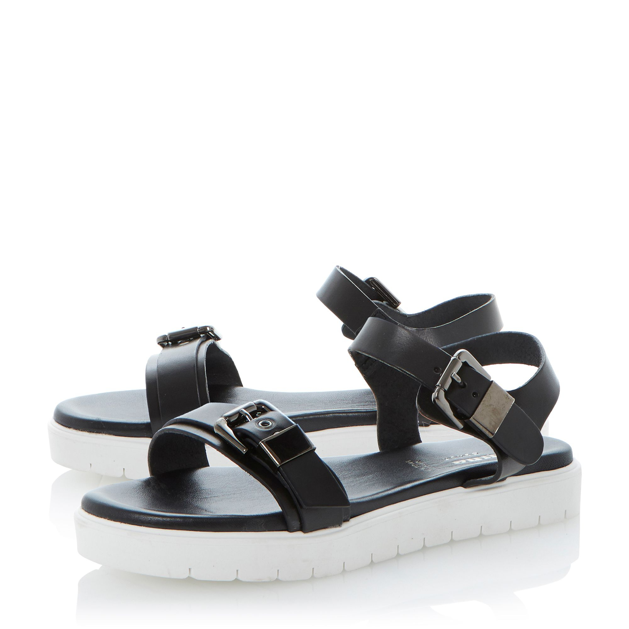 Dune Black Laurie Leather Flat Chunky Rubber Sole Sandals