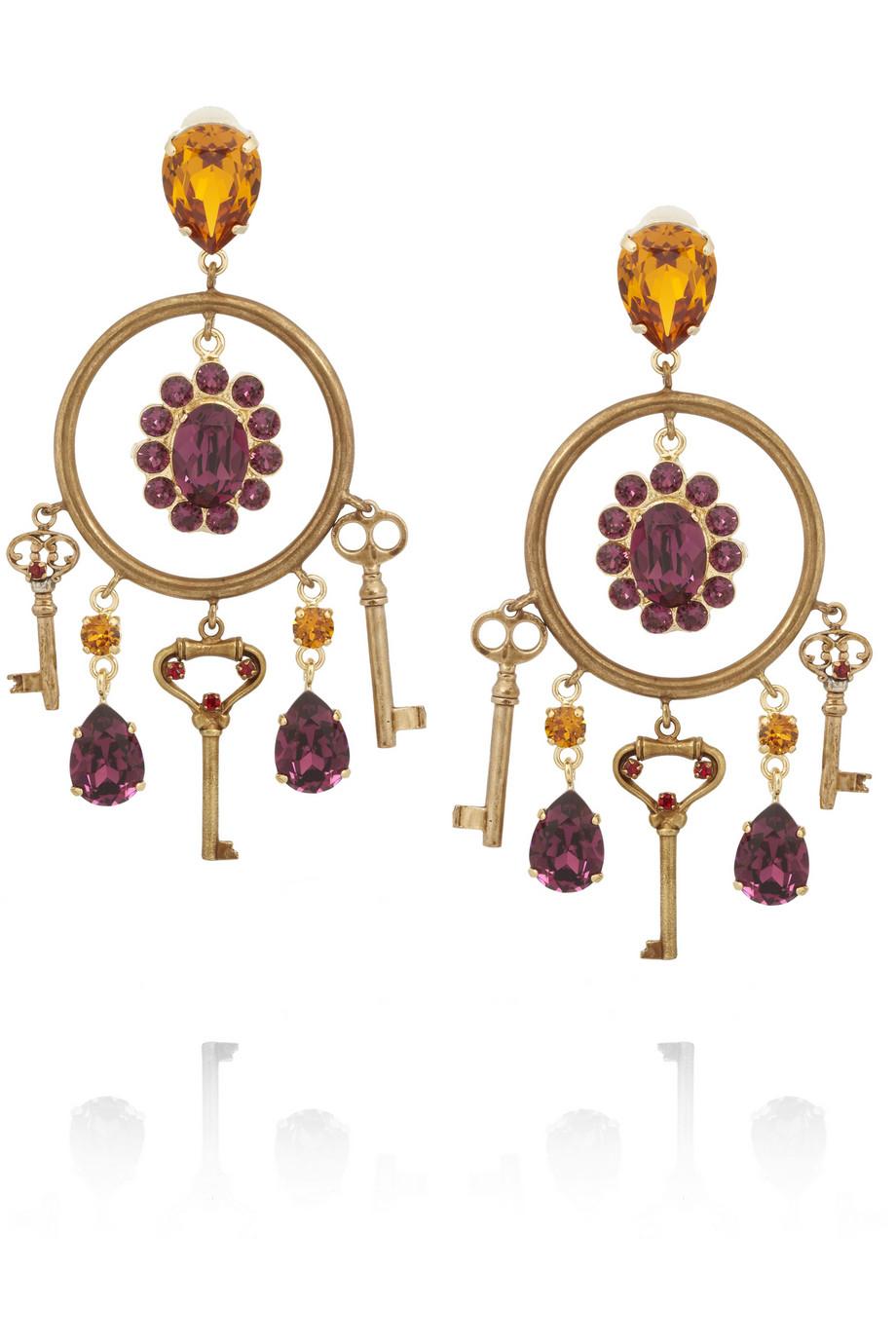 1153e630f Lyst - Dolce & Gabbana Gold-Plated Swarovski Crystal Clip Earrings ...