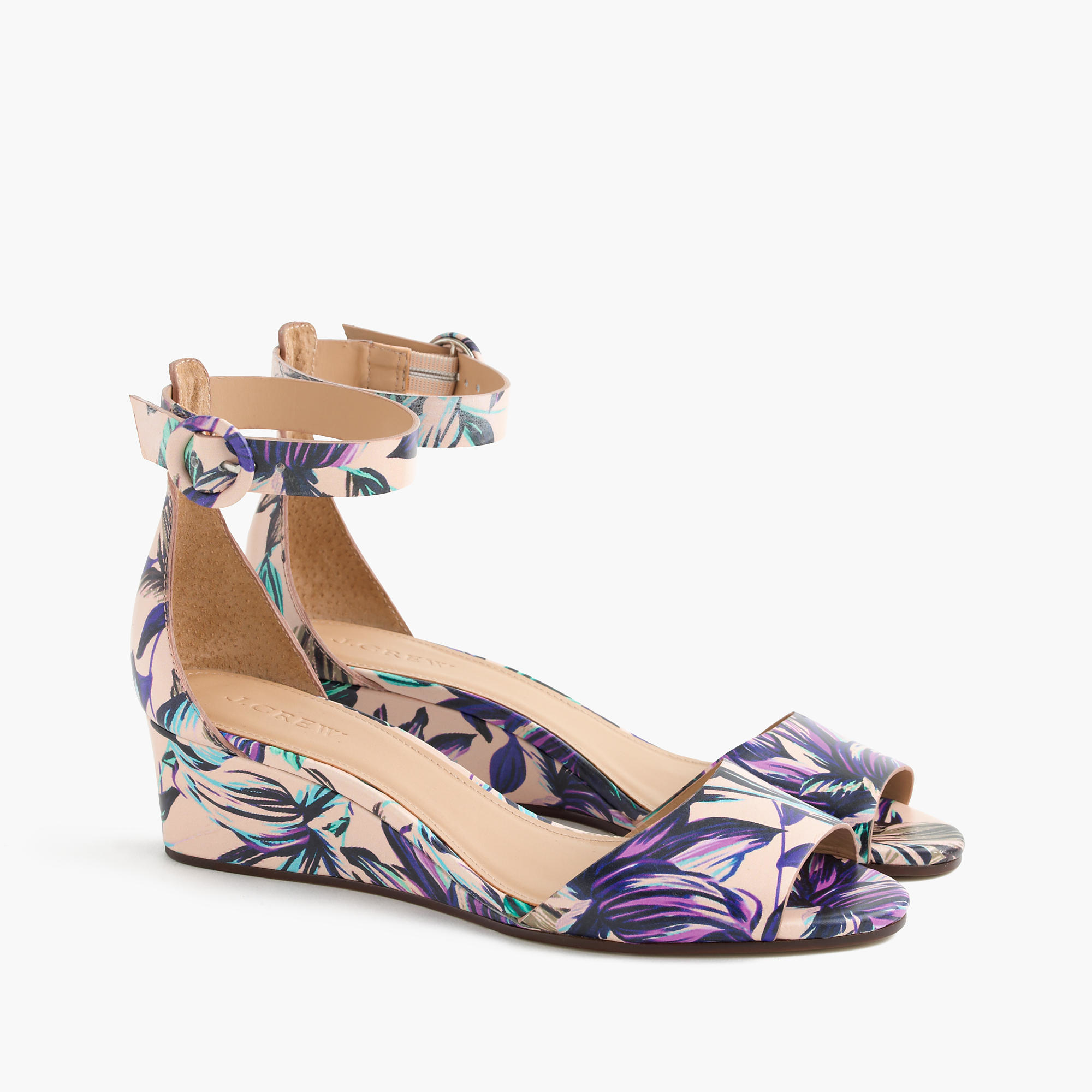 bf0eb3183667 Lyst - J.Crew Laila Leather Wedges In Floral in Purple
