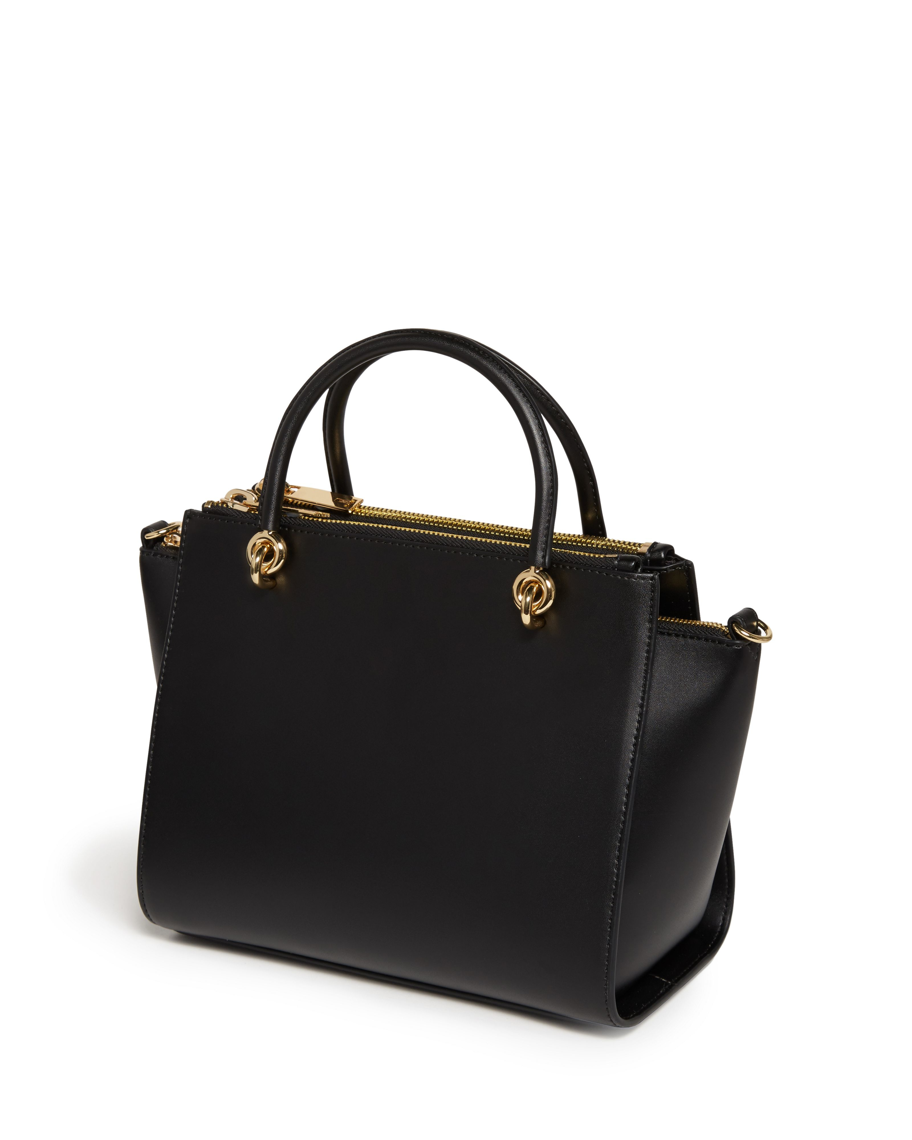 Ted baker Haylie Textured Leather Zip Tote Bag in Black | Lyst