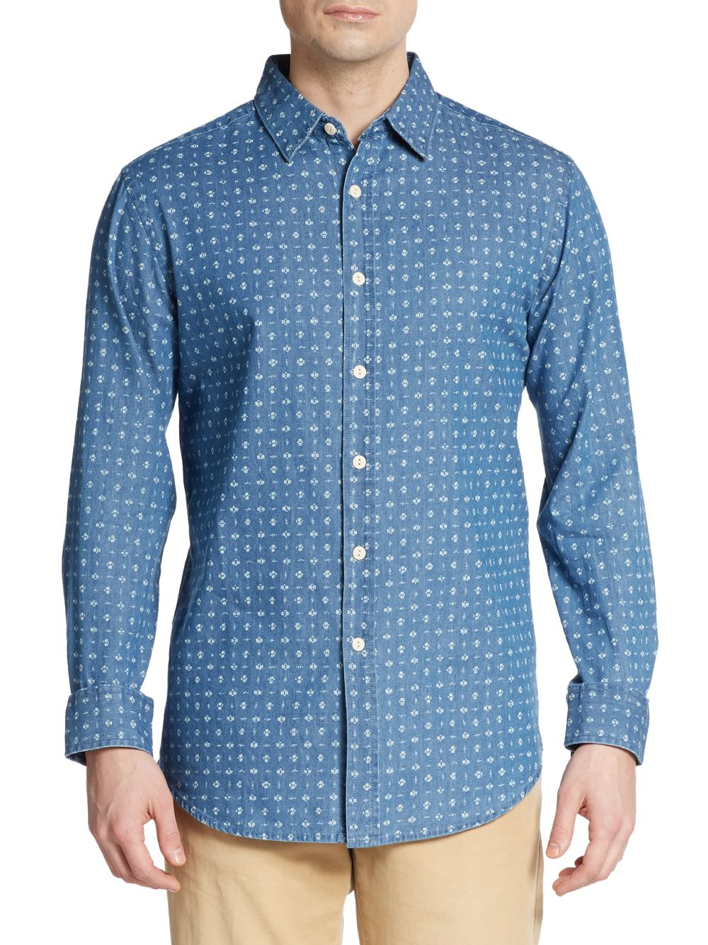 Burma Bibas Floral Print Chambray Sportshirt In Blue For