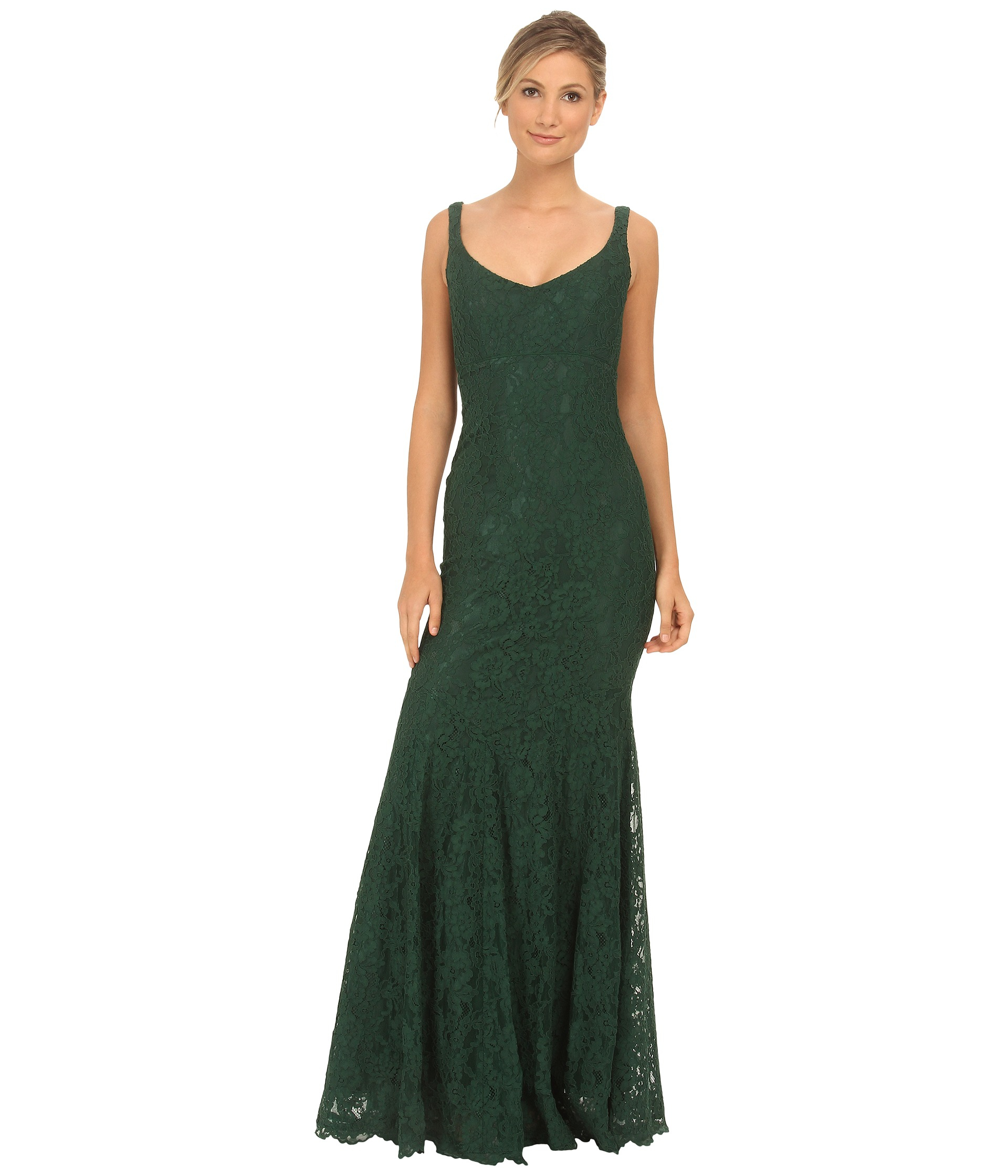 Nicole miller Cordelia Lace Gown in Green | Lyst