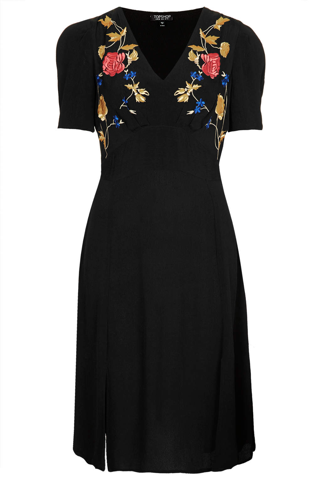 Topshop embroidered midi tea dress in black lyst