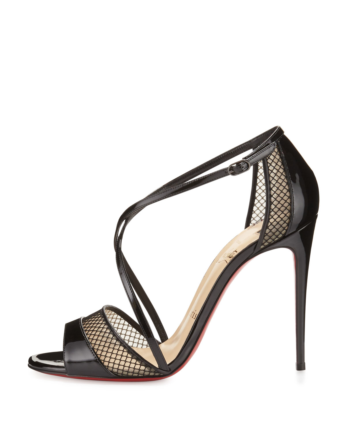 detailed look 2a062 54919 Christian Louboutin Black Slikova Patent and Mesh Sandals