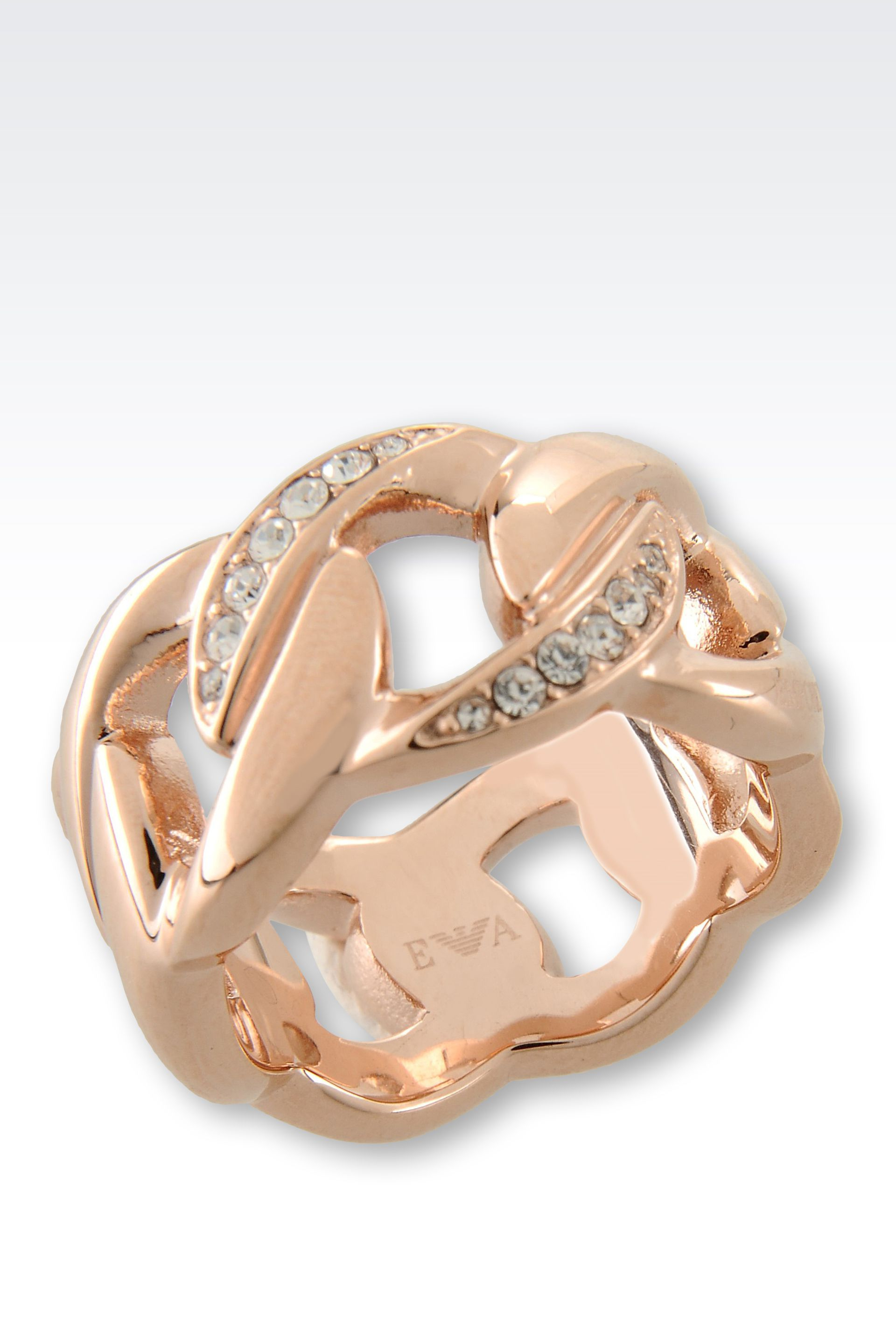 emporio armani ring in gold plated steel and crystals