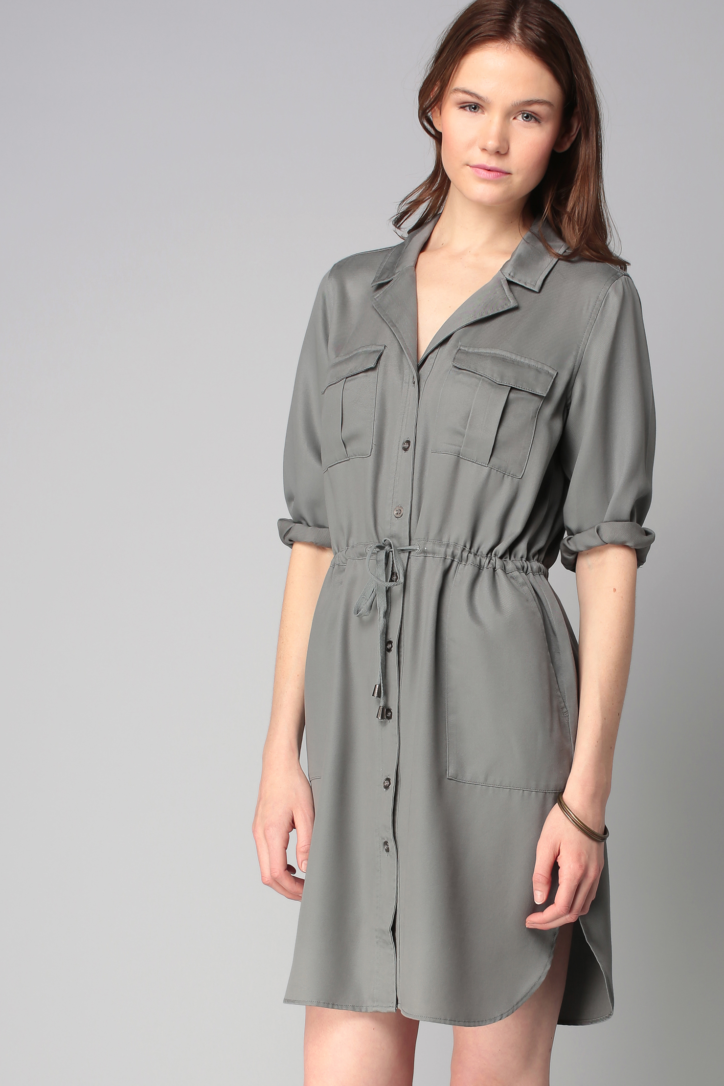 French connection shirt dress in gray lyst for French connection shirt dress