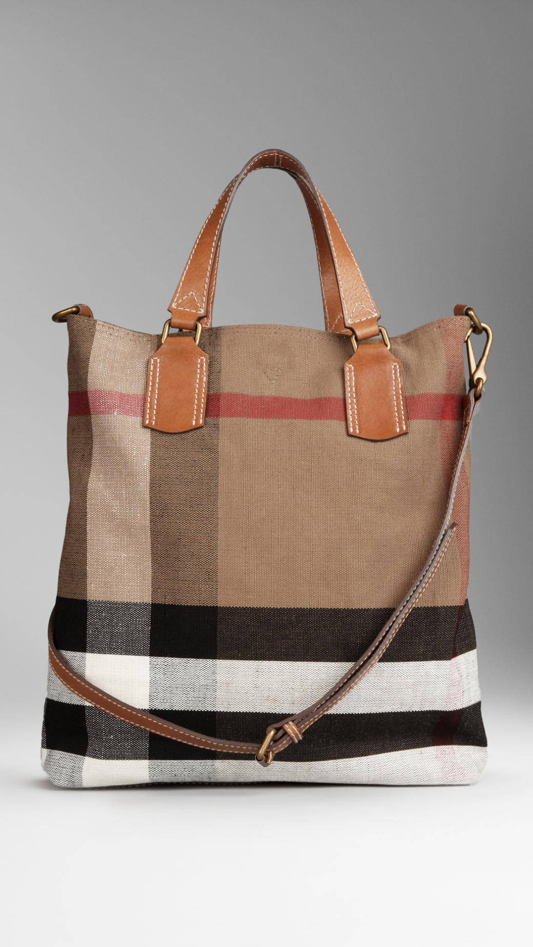 Lyst - Burberry Medium Canvas Check Tote Bag in Brown