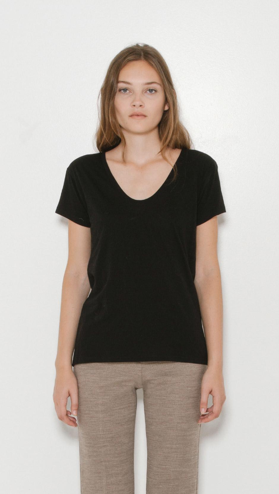 helmut lang scoop neck t shirt in black lyst. Black Bedroom Furniture Sets. Home Design Ideas