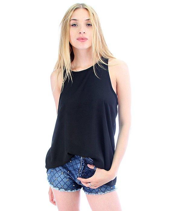 fashion club usa sheer loose fitting tank top in black lyst