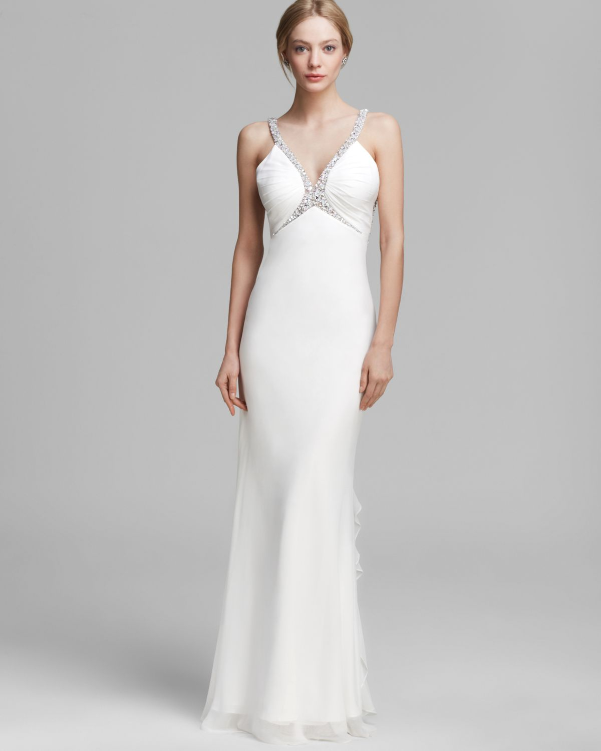 Lyst - Faviana Couture Gown V Neck Beaded Ruffle Back in White