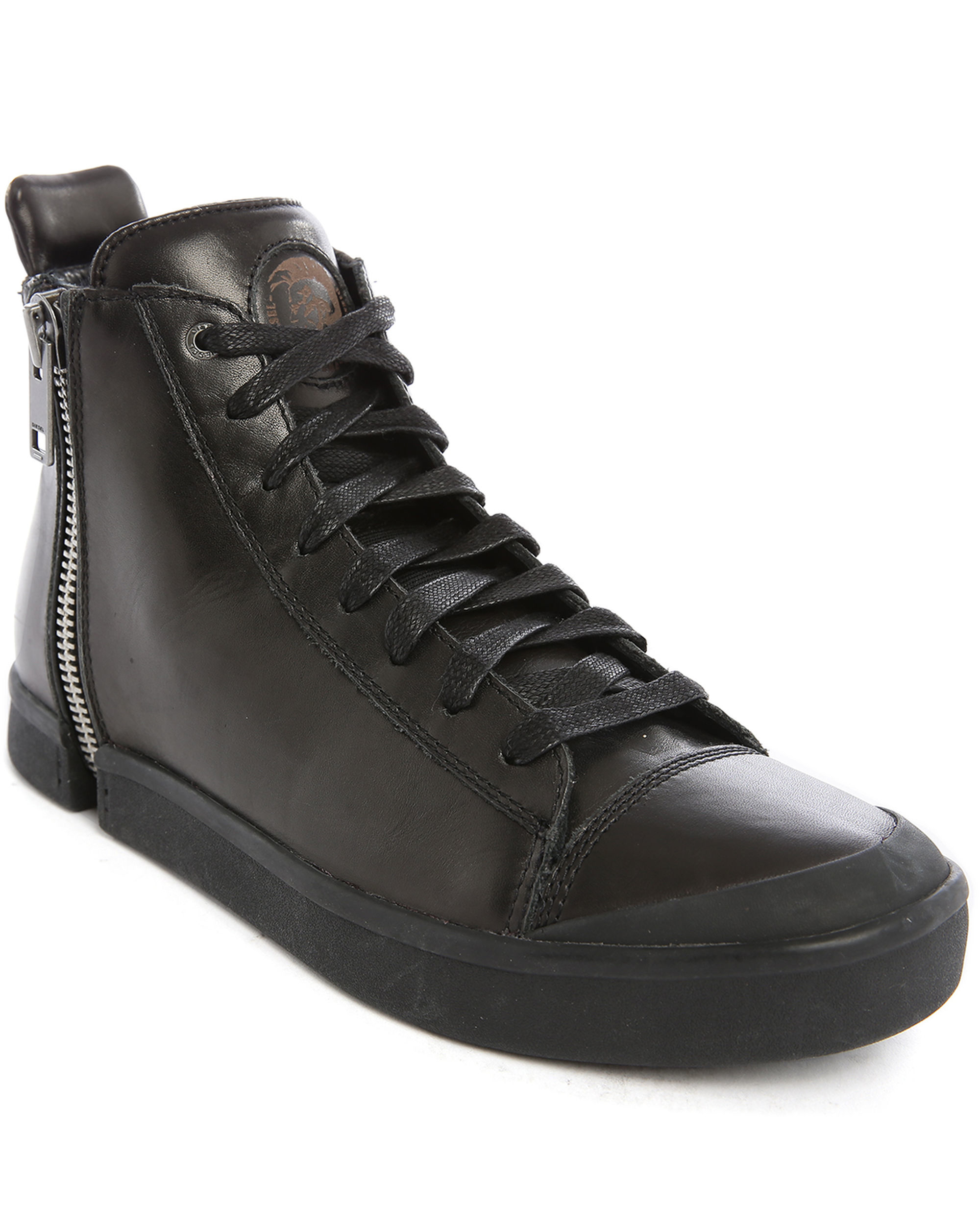 diesel snentish black zip allover hightop sneakers in