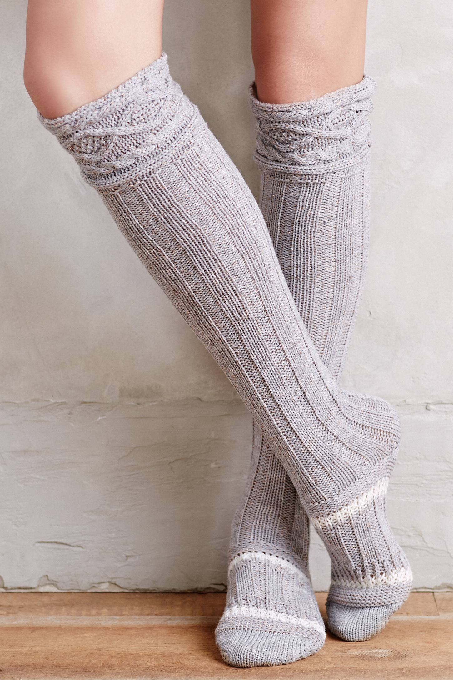 Anthropologie Cabled Over-the-knee Boot Socks in Gray | Lyst